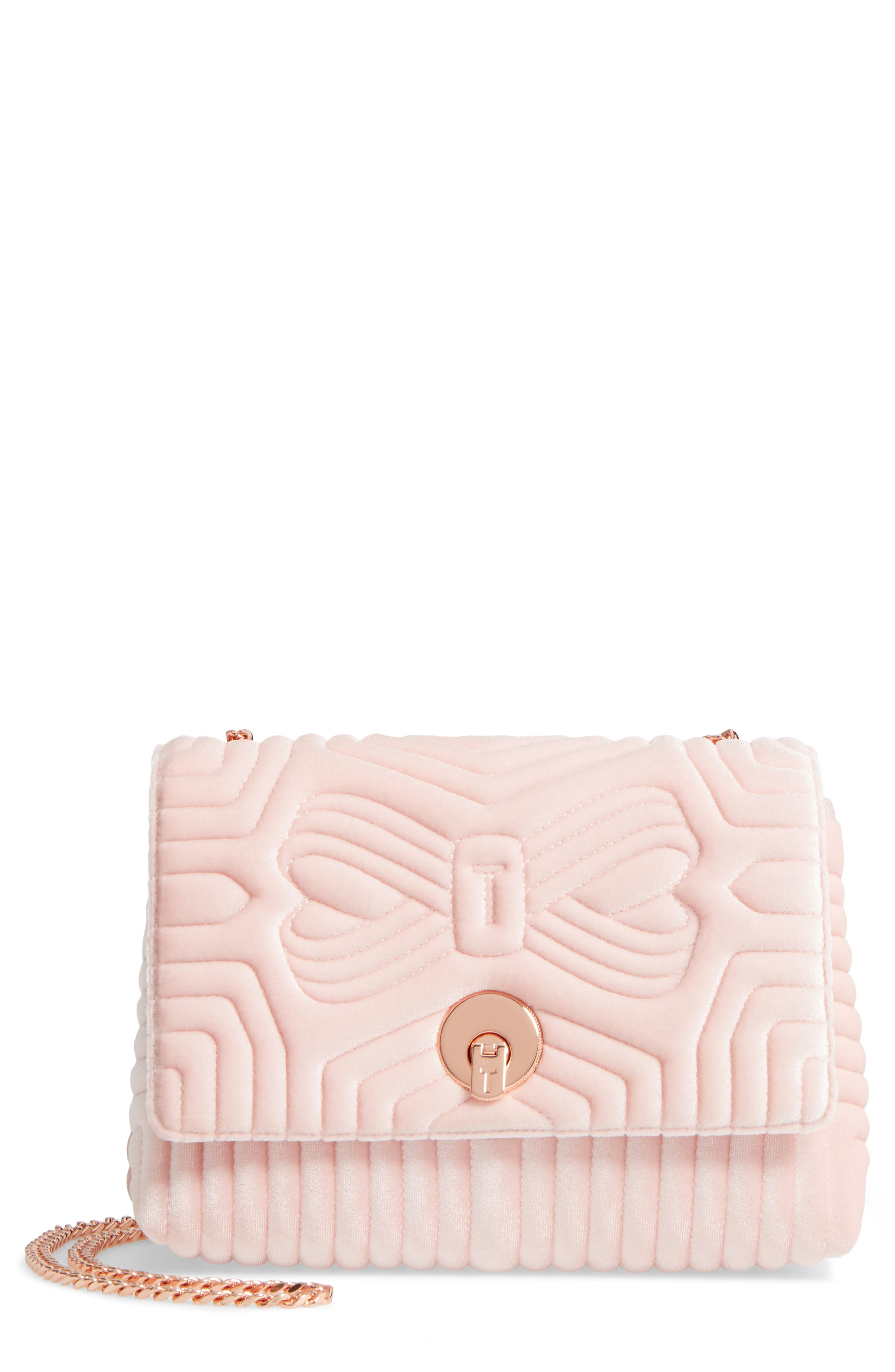 Main Image - Ted Baker London Quilted Velvet Crossbody Bag