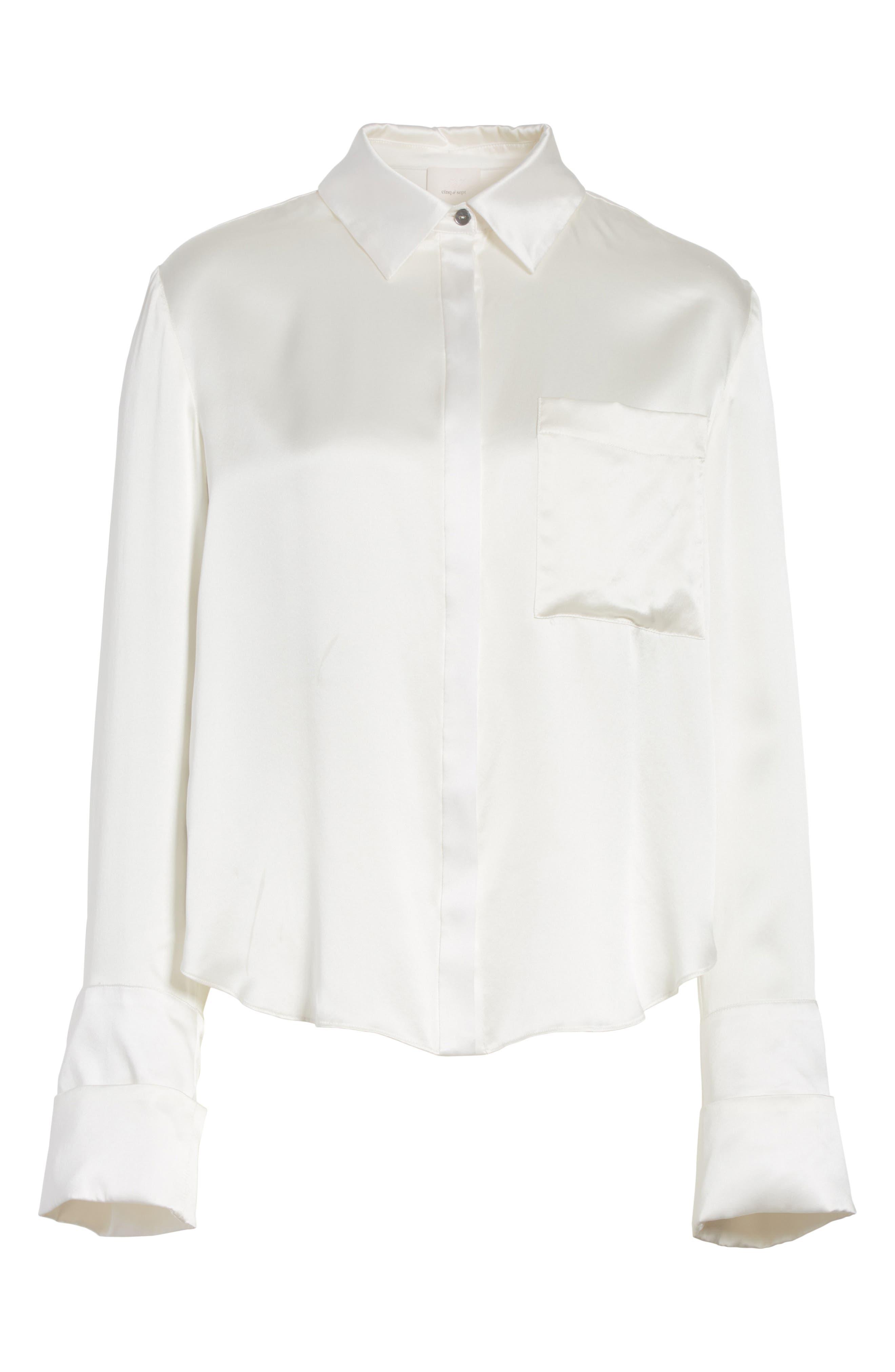 Korlan Lace Trim Silk Top,                             Alternate thumbnail 6, color,                             Ivory/ Black