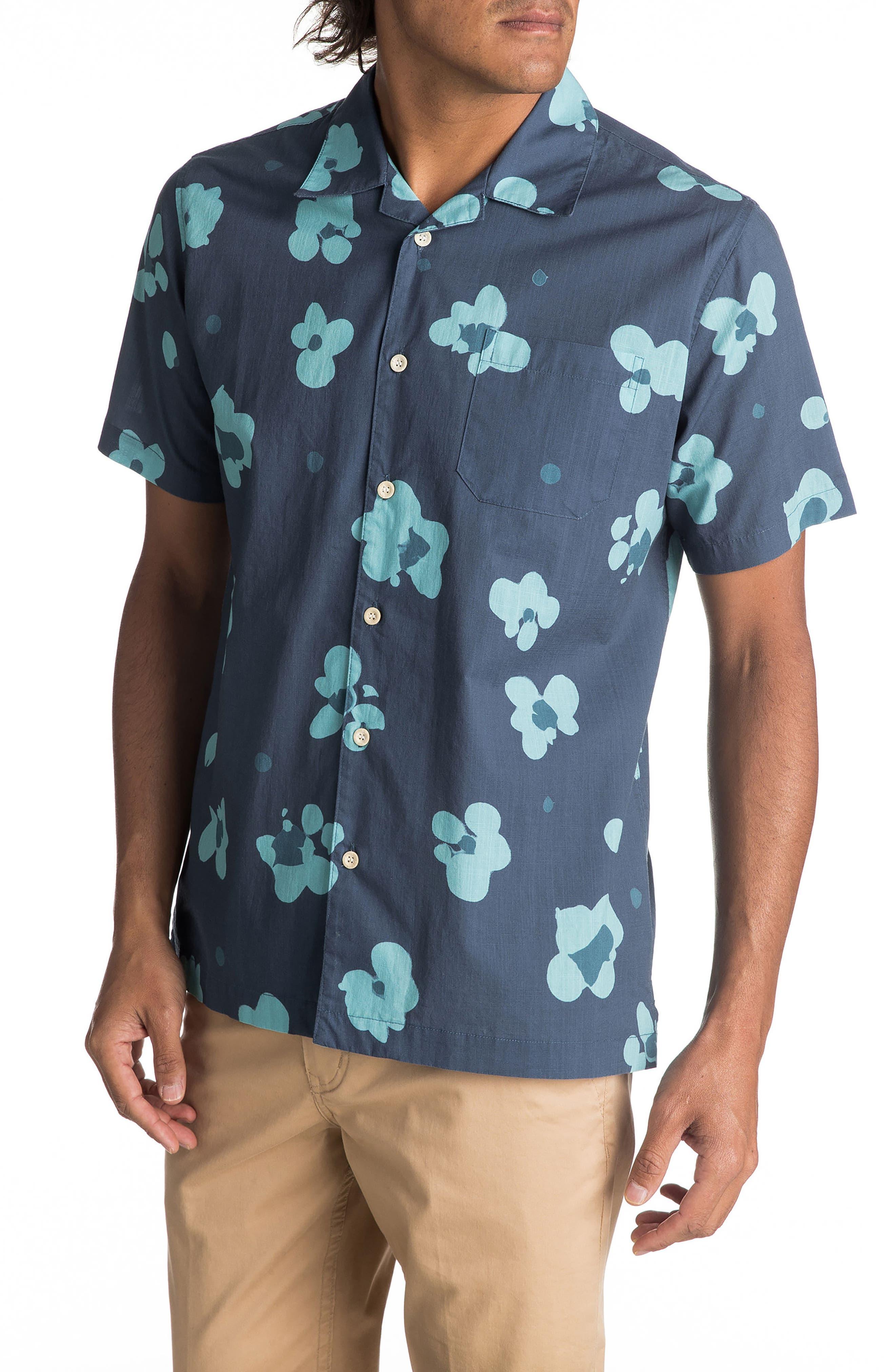Waterfloral Camp Shirt,                         Main,                         color, Ensign Blue