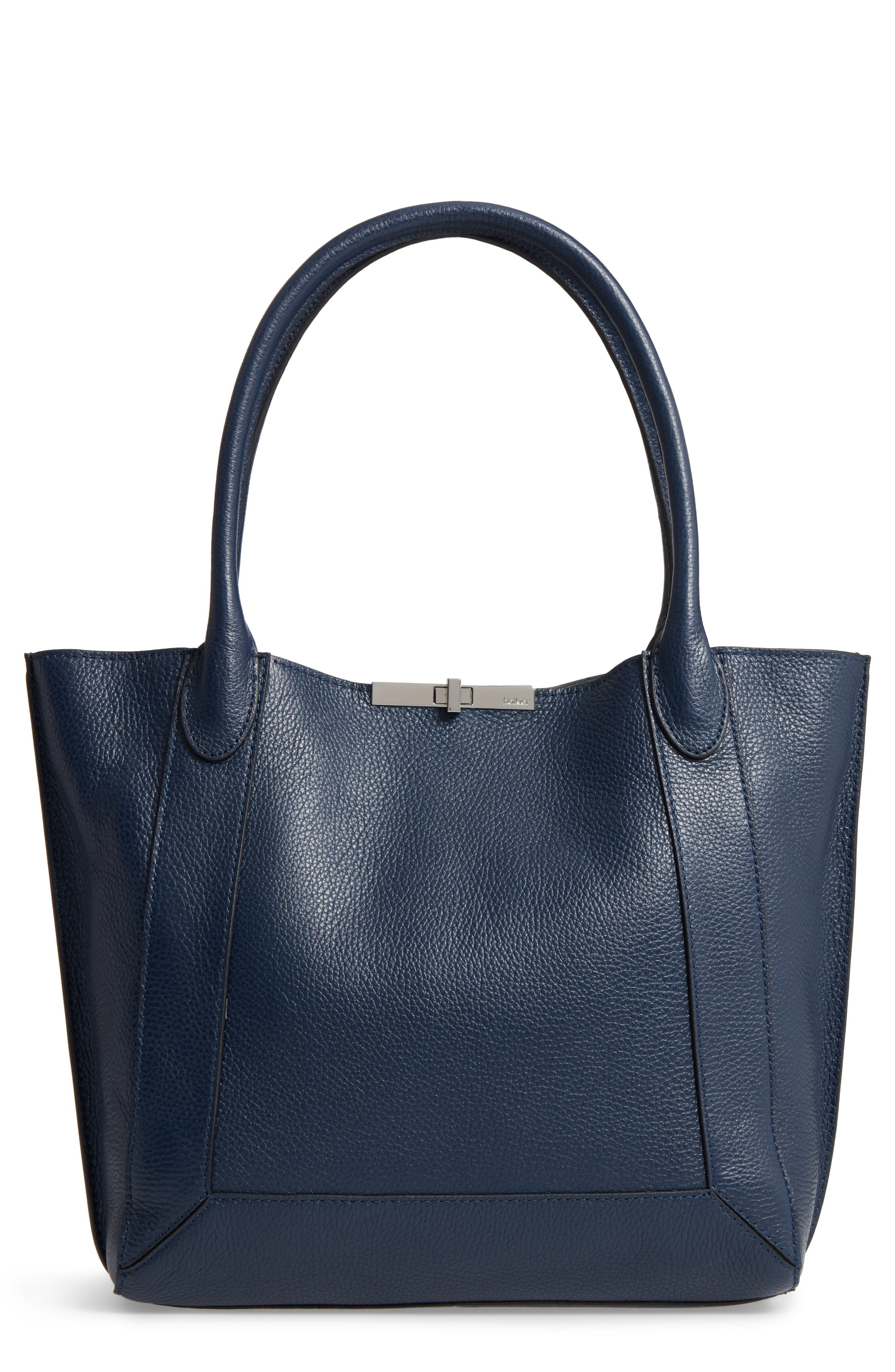 Perry Leather Tote,                         Main,                         color, Sapphire