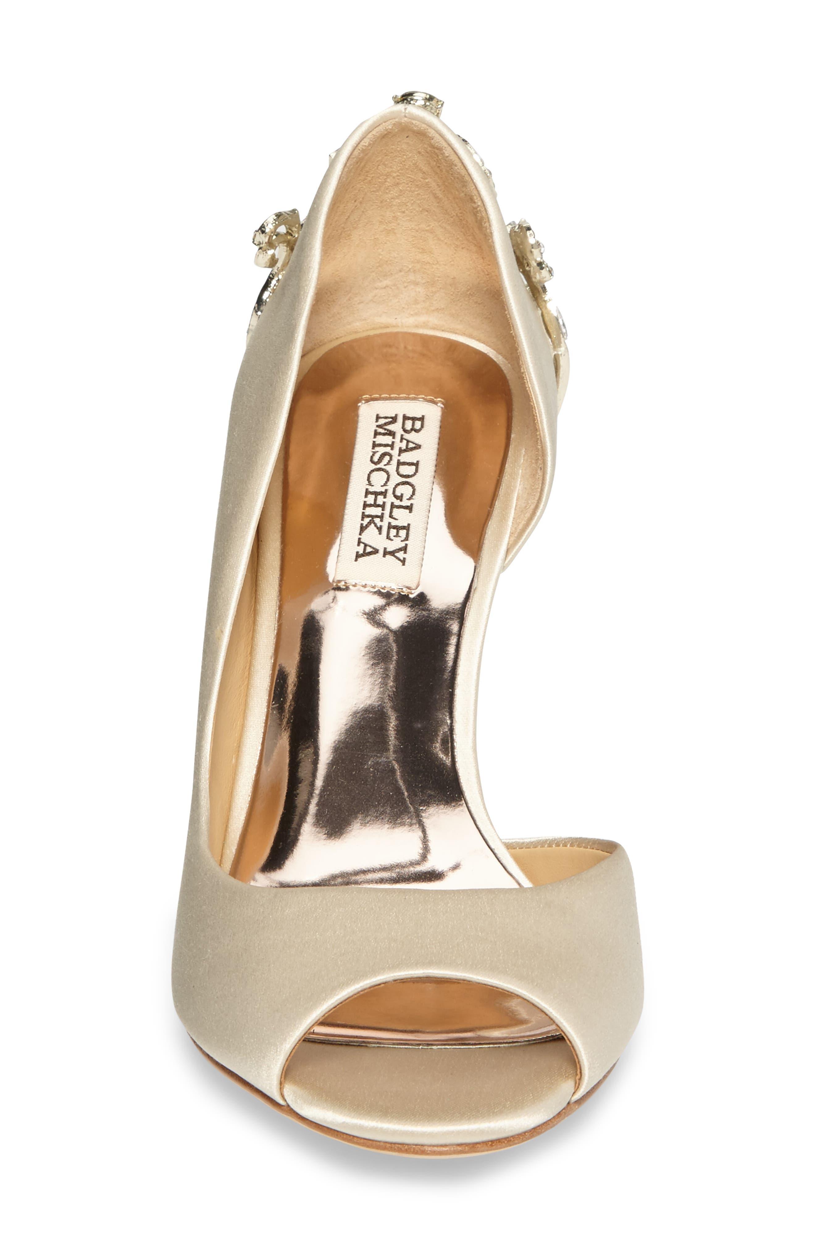 Meagan Embellished Peep Toe Wedge,                             Alternate thumbnail 4, color,                             Ivory Satin