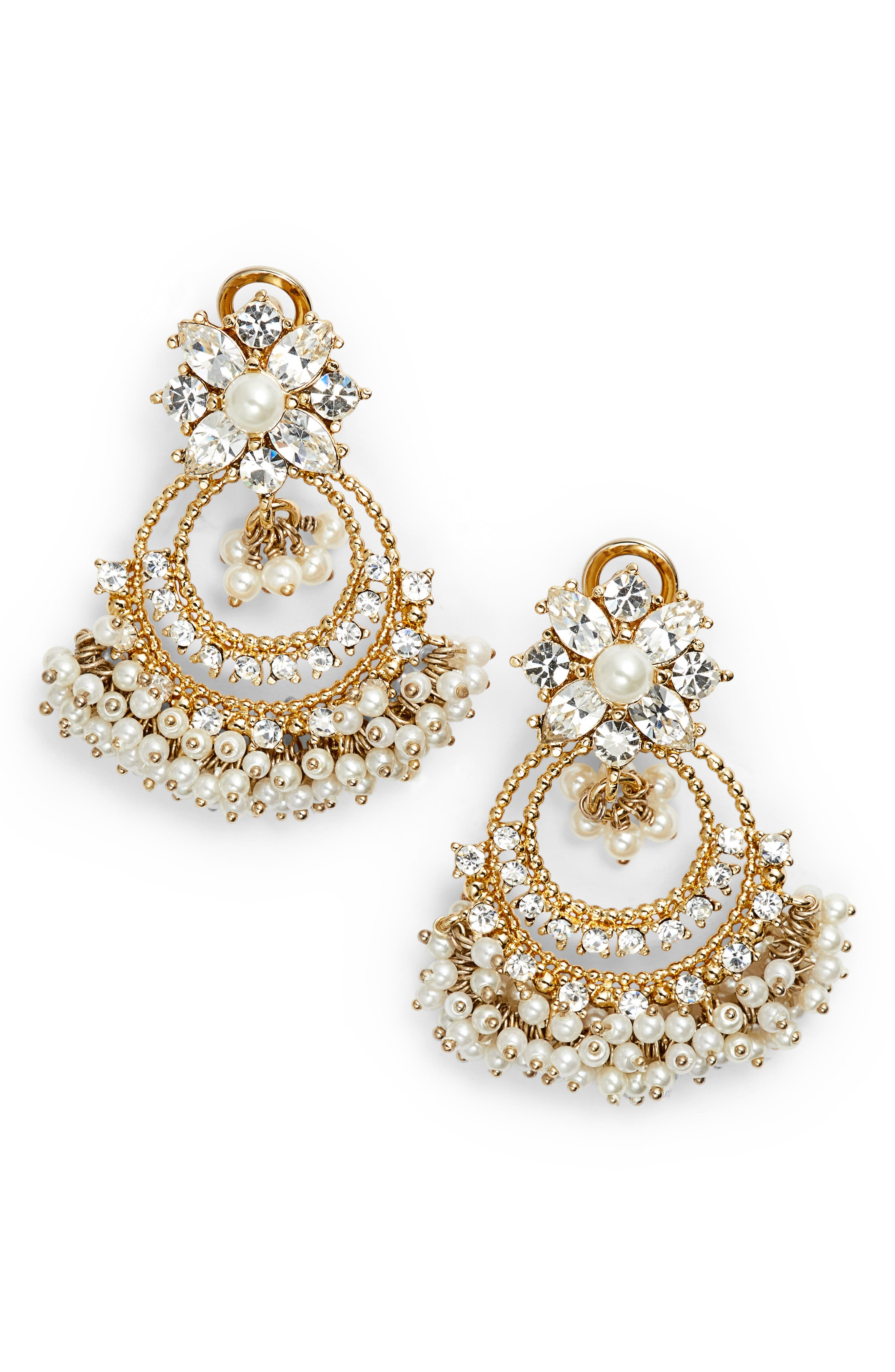 Crystal Chandelier Drop Earrings,                             Main thumbnail 1, color,                             Gold/ White/ Cry