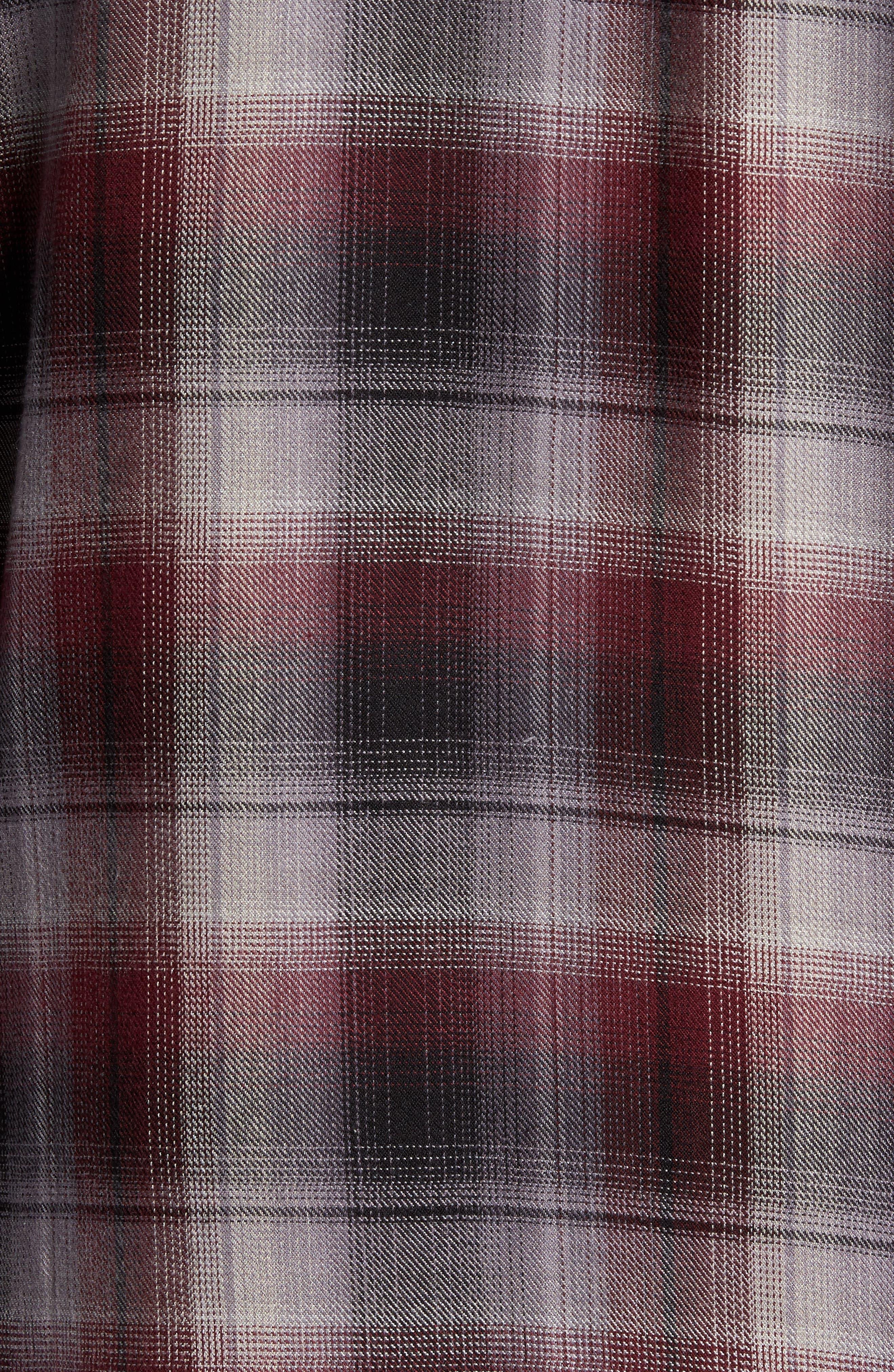 Virgil Ombré Plaid Sport Shirt,                             Alternate thumbnail 5, color,                             Black Burgundy Ombre Plaid