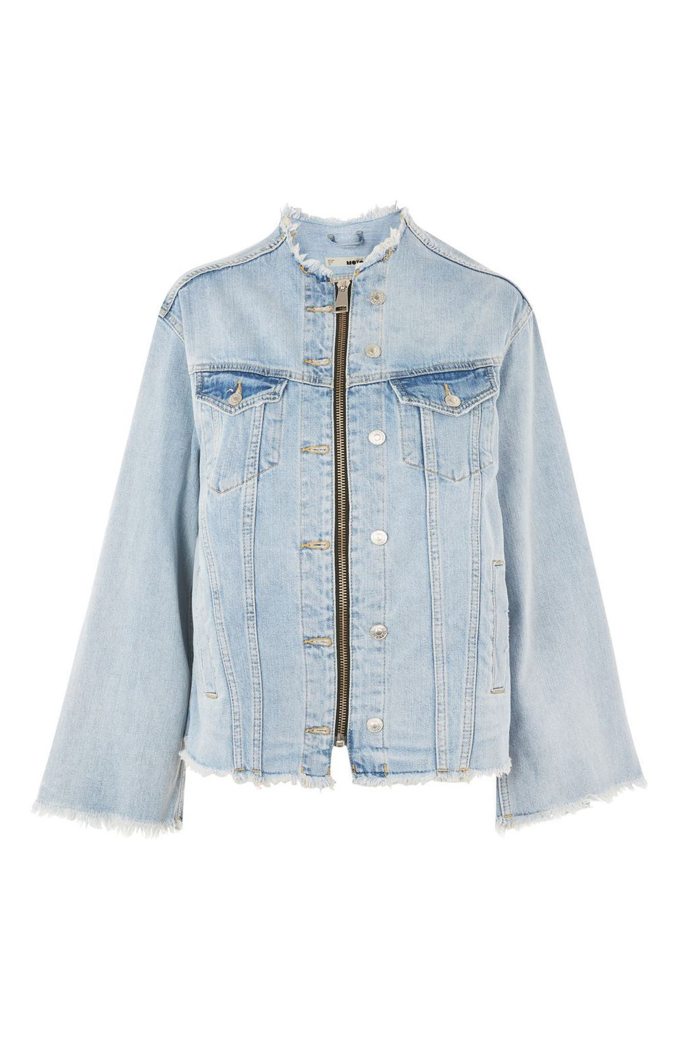 Zip Through Denim Jacket,                             Alternate thumbnail 4, color,                             Mid Denim