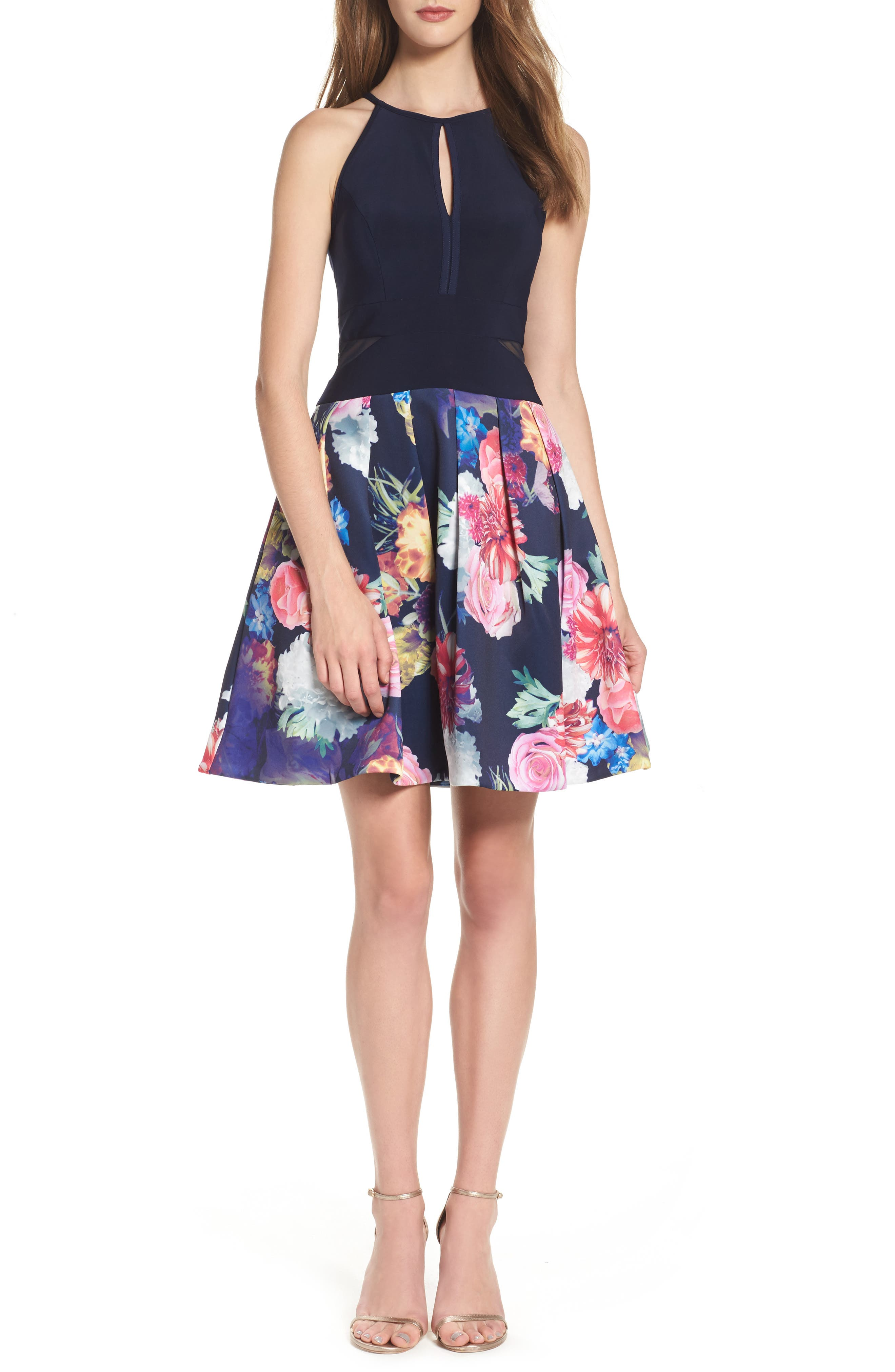 Keyhole Mixed Media Party Dress,                             Main thumbnail 1, color,                             Navy/ Pink