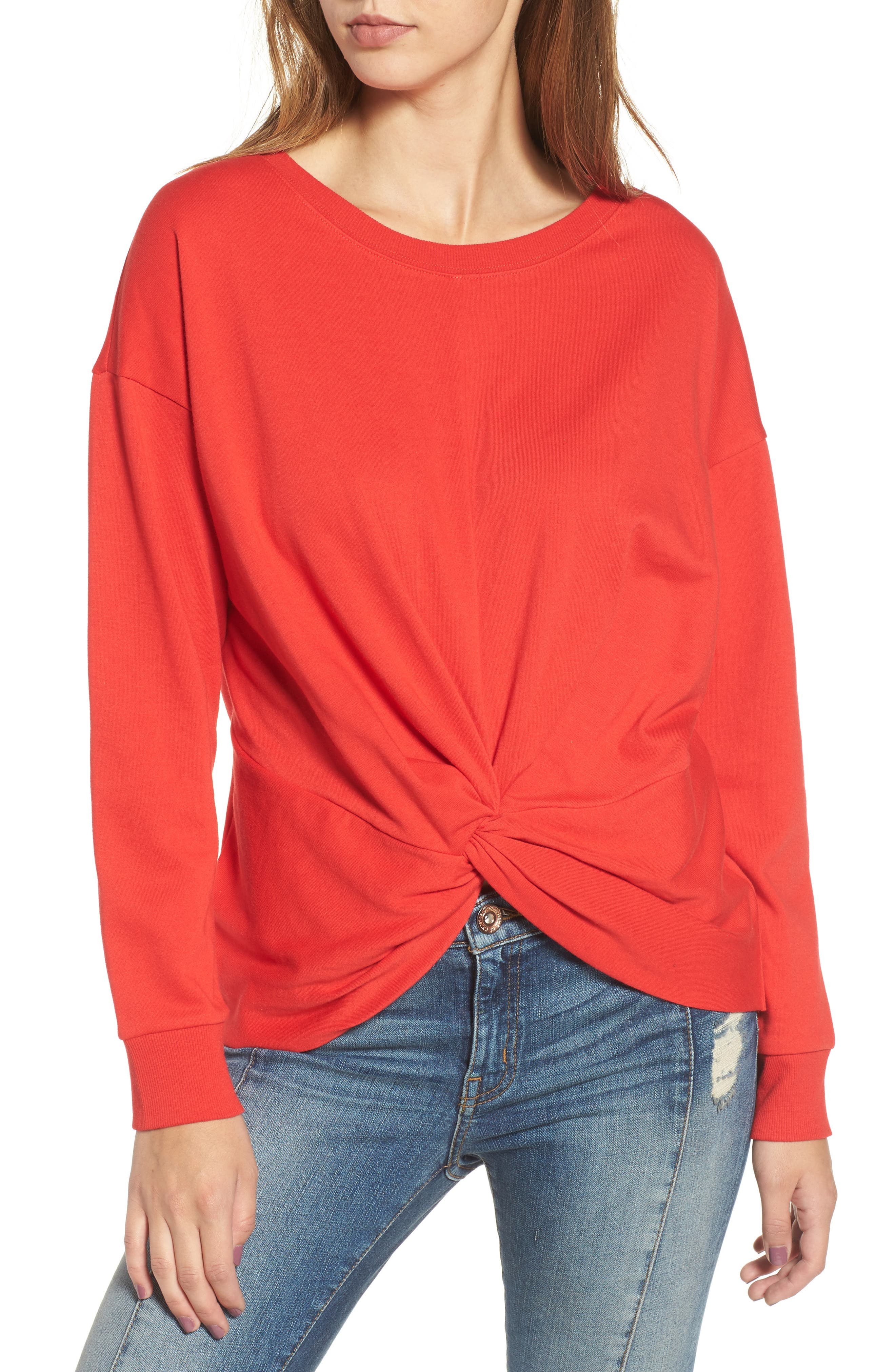Twist Front Pullover,                         Main,                         color, American Red