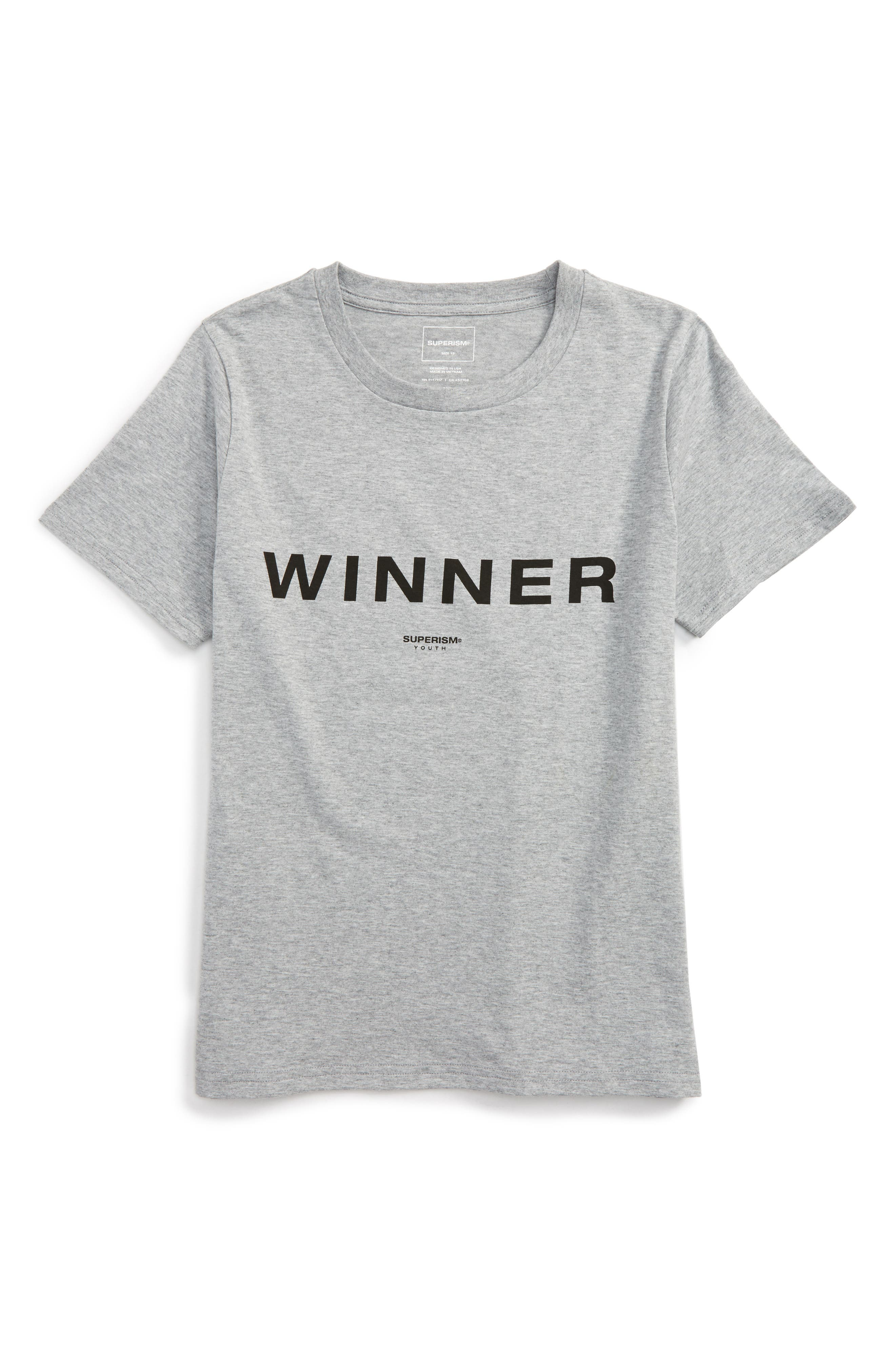 Winner T-Shirt,                             Main thumbnail 1, color,                             Grey Heather