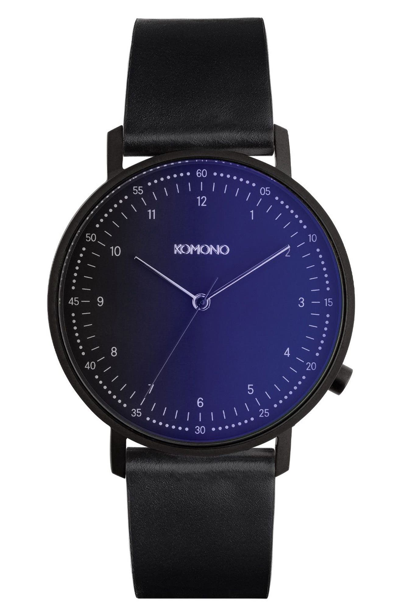The Lewis Midnight Leather Strap Watch, 40mm,                             Main thumbnail 1, color,                             Midnight/ Black