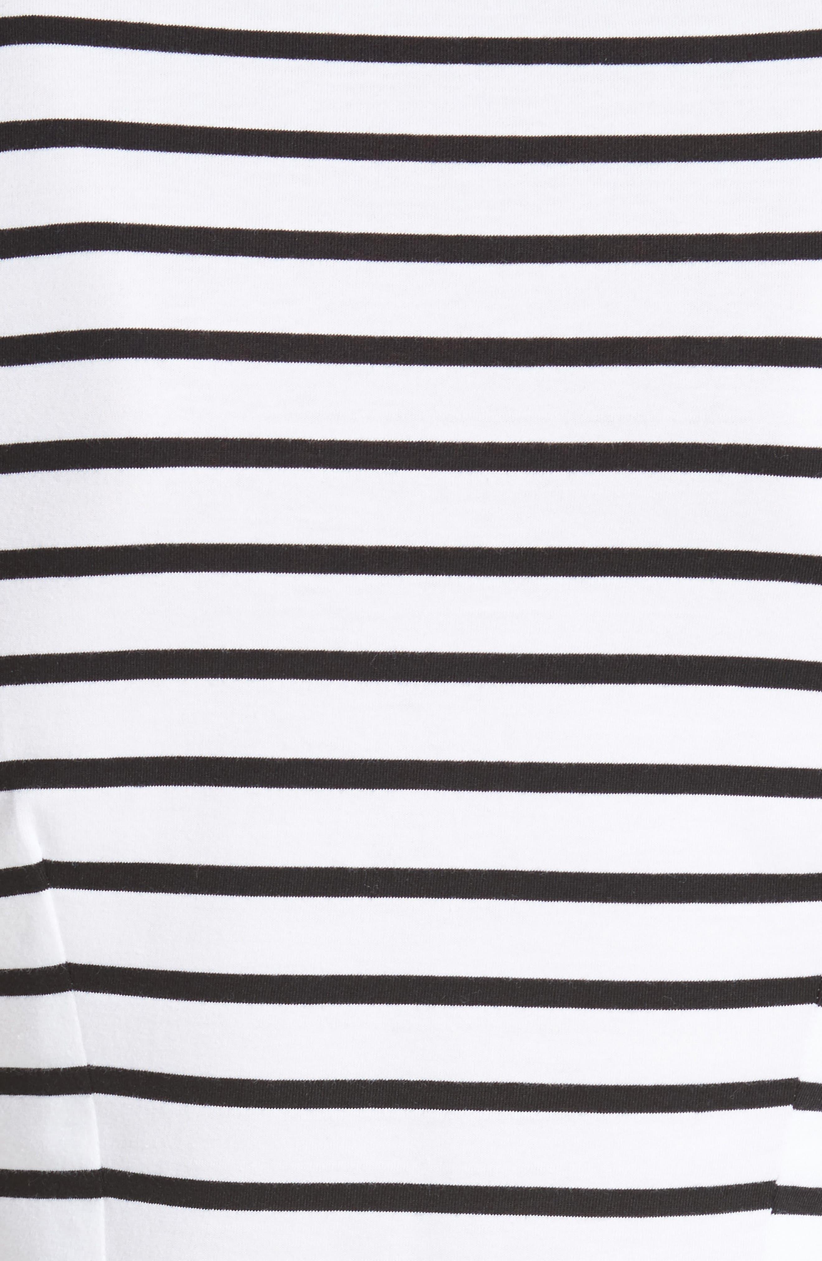 être cécile Scribble Dog Stripe T-Shirt Dress,                             Alternate thumbnail 6, color,                             Black Breton Stripe