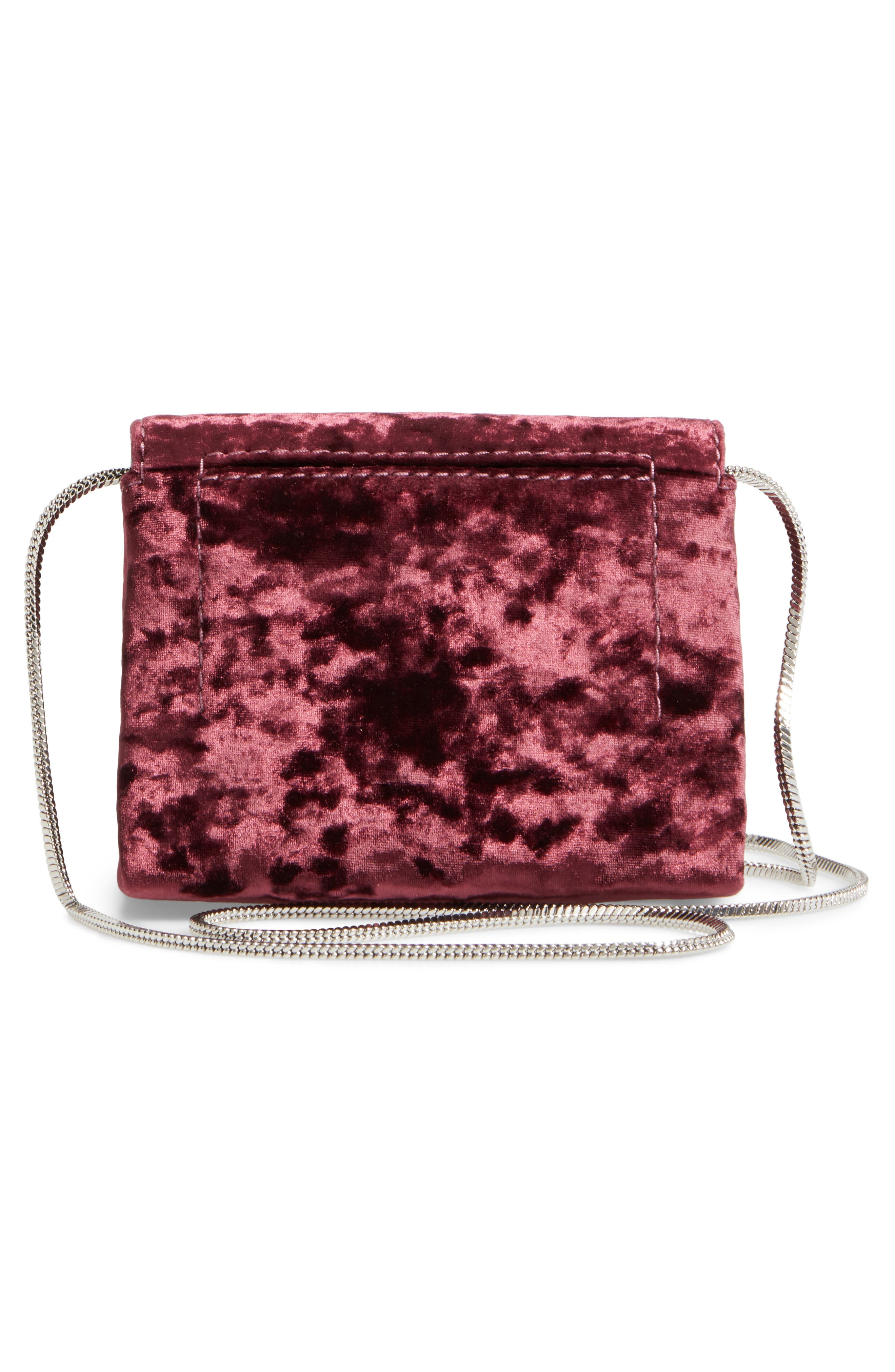 Micro Alix Velvet Crossbody Bag,                             Alternate thumbnail 3, color,                             Syrah