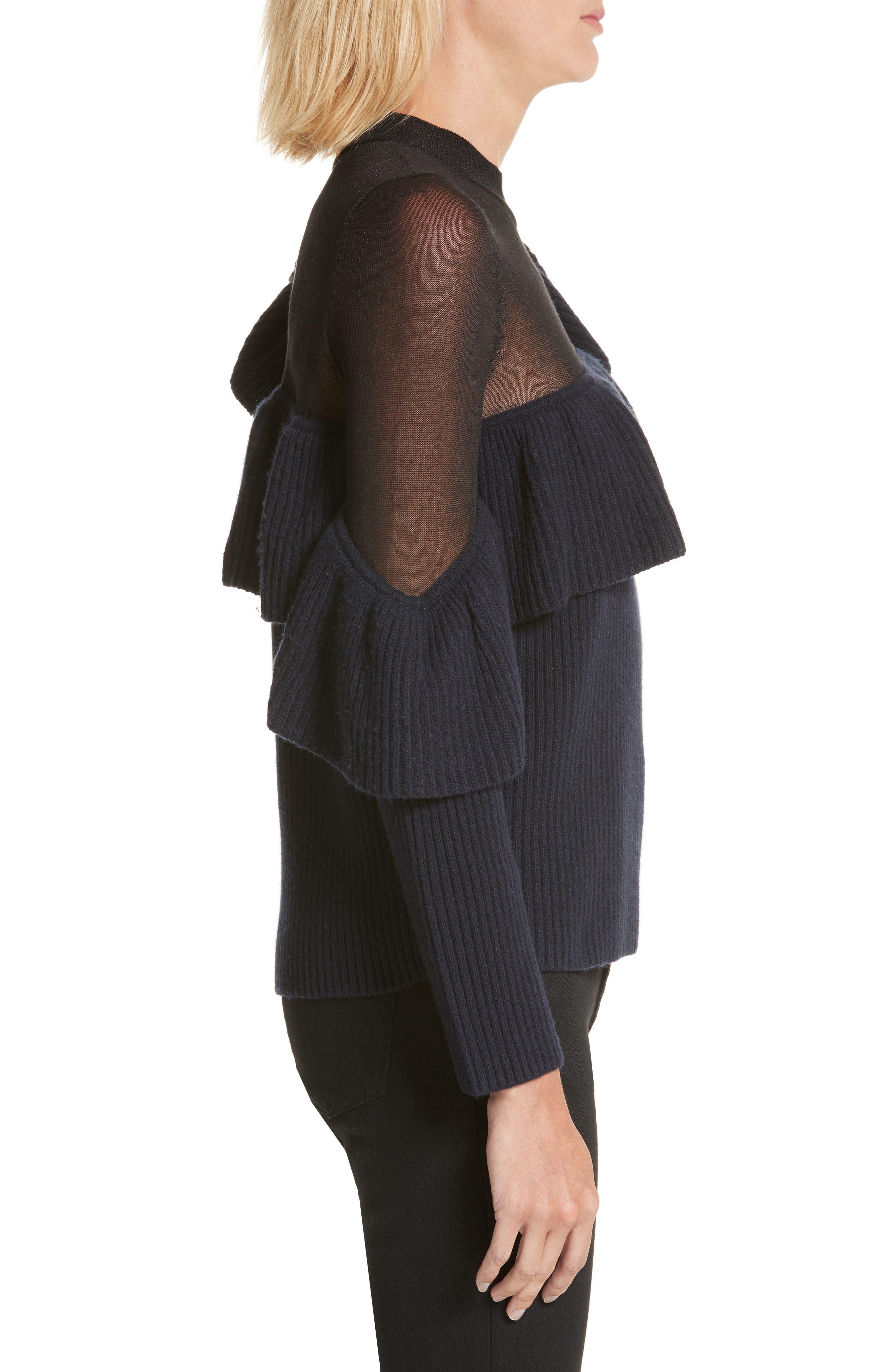 Asymmetrical Frill Illusion Sweater,                             Alternate thumbnail 3, color,                             Blue