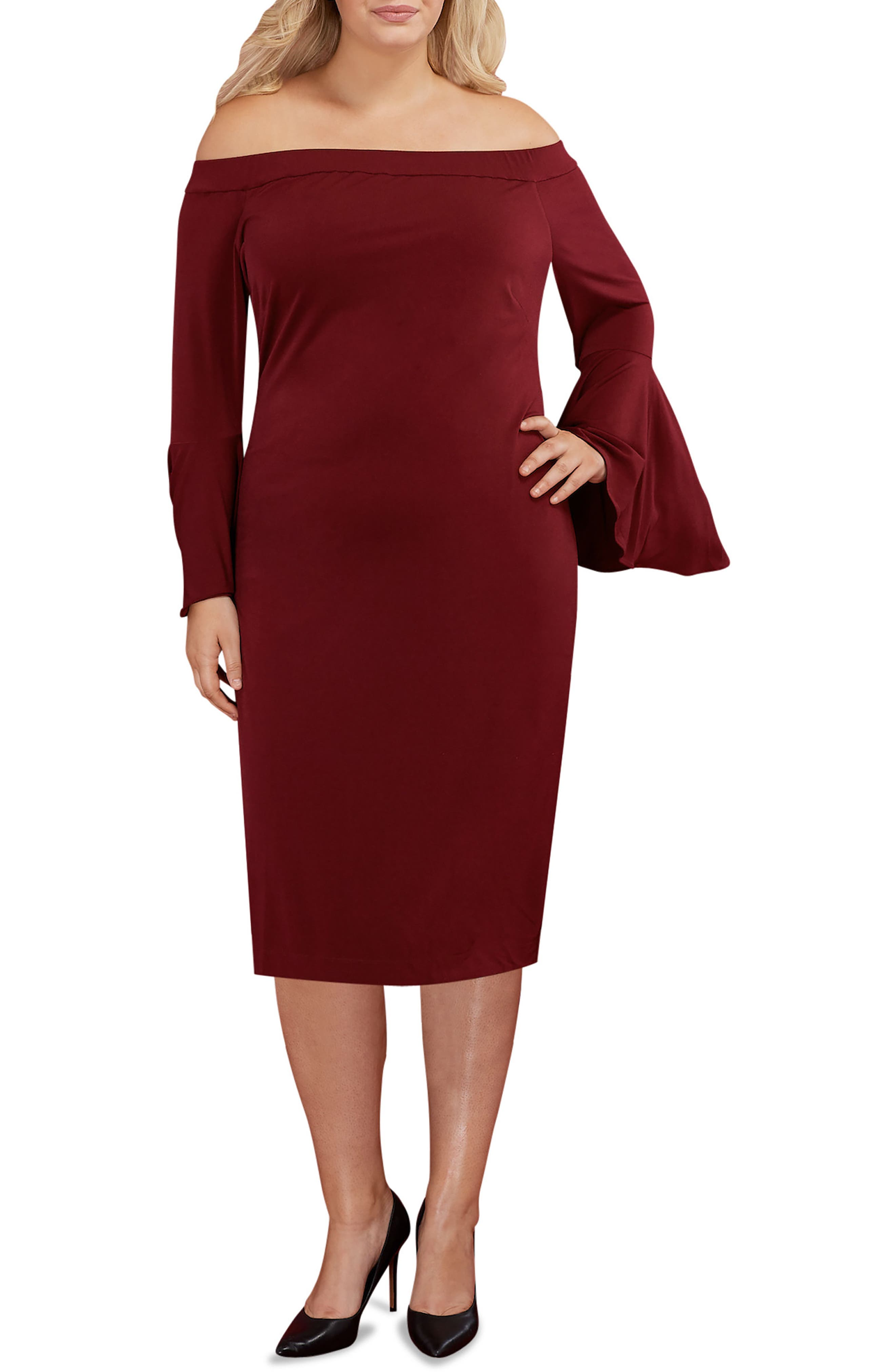 Off the Shoulder Bell Sleeve Sheath Dress,                             Main thumbnail 1, color,                             Wine