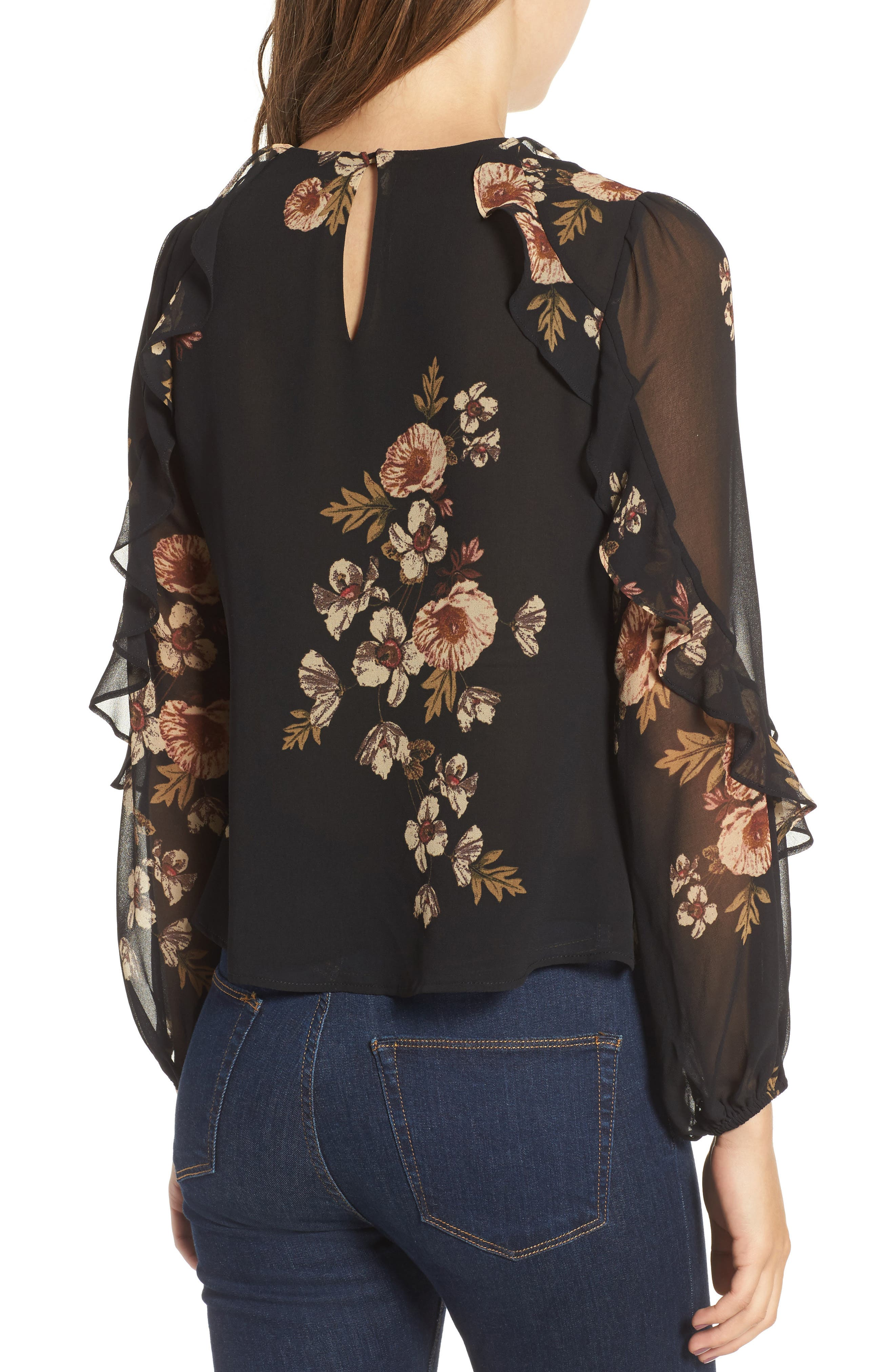Lena Top,                             Alternate thumbnail 2, color,                             Black-Pink Floral