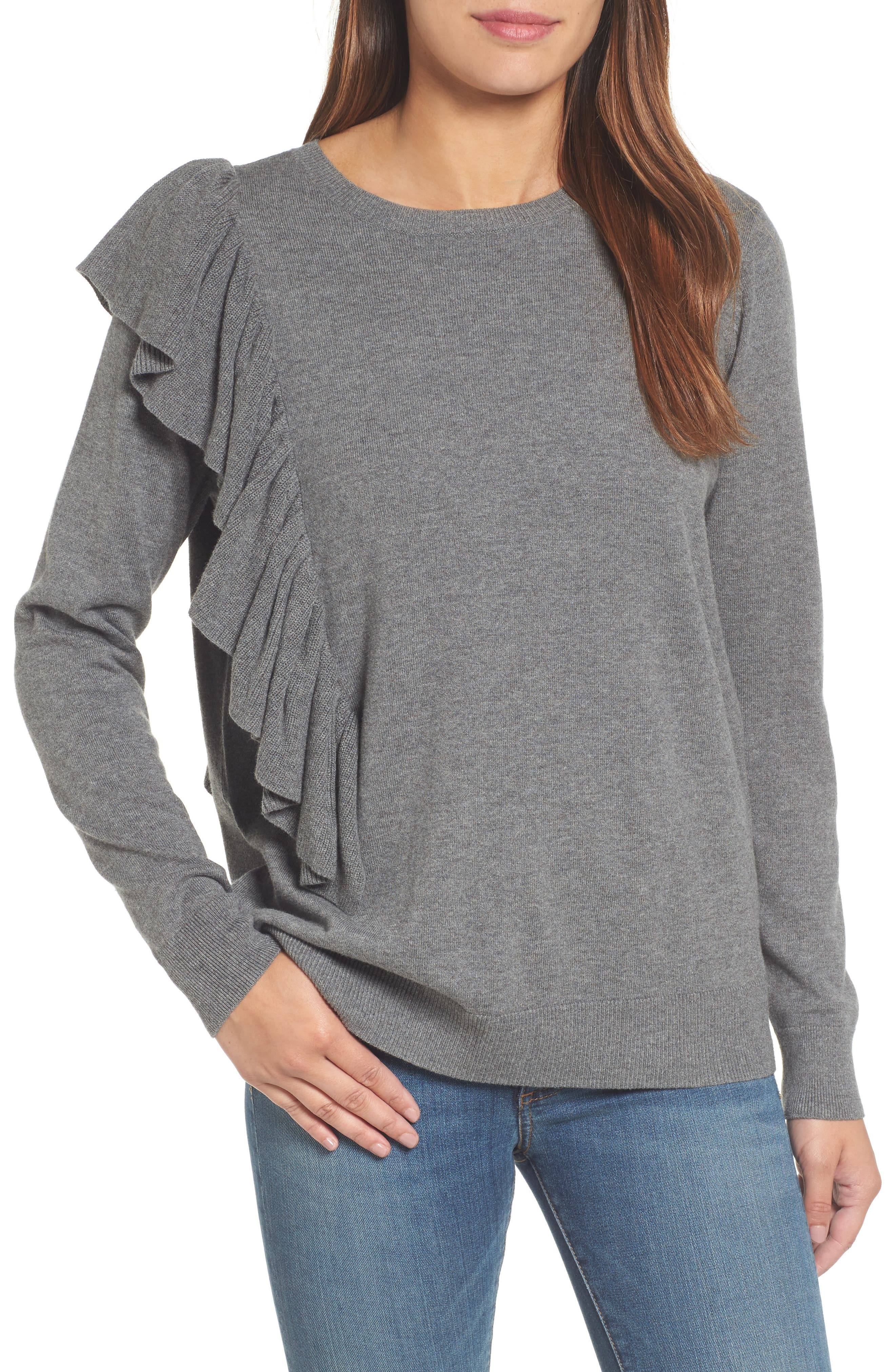 Halogen® Asymmetrical Ruffle Sweater (Regular & Petite)