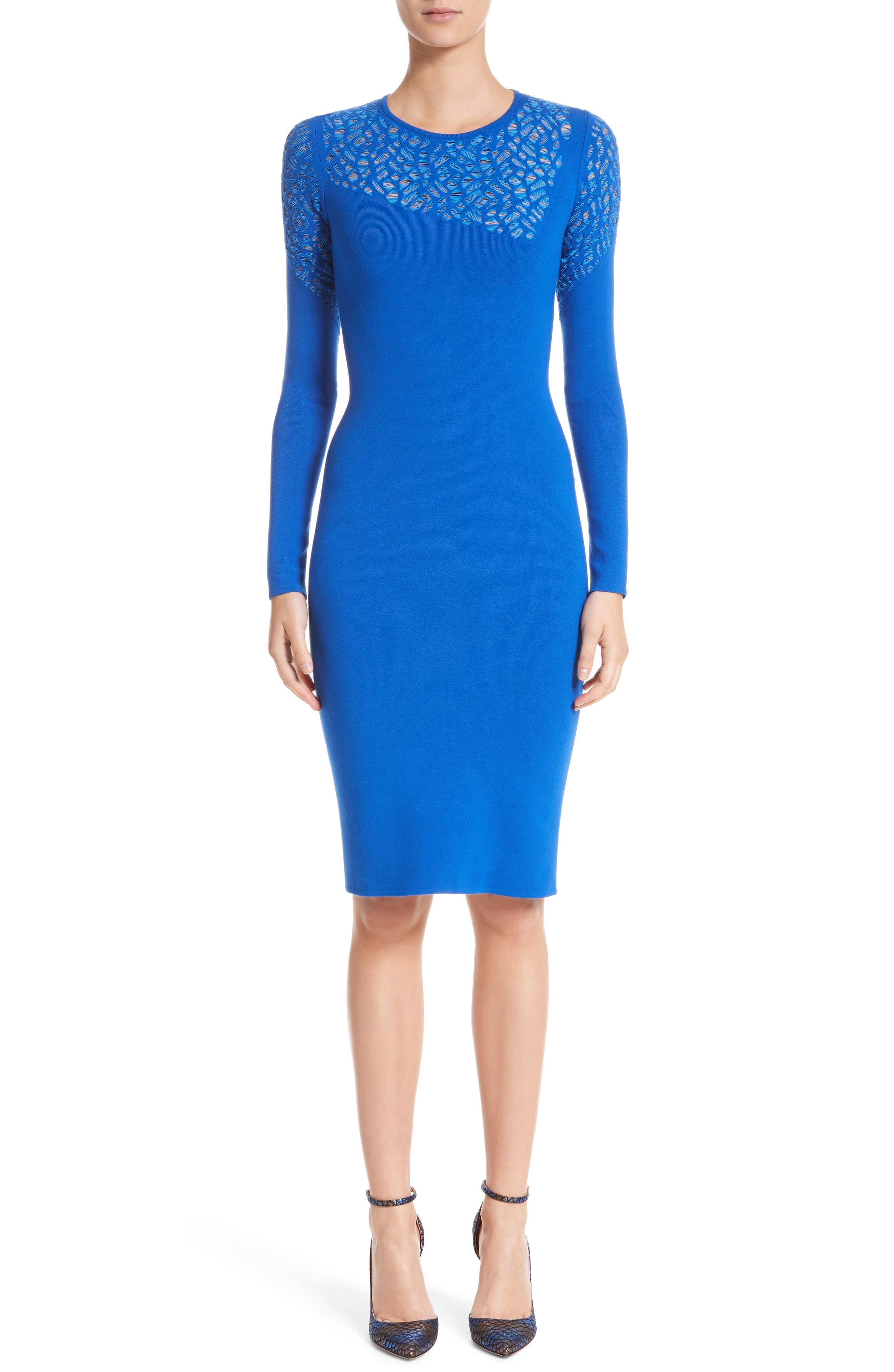 Contrast Stitch Knit Dress,                             Main thumbnail 1, color,                             Royal Blue/ Light Blue