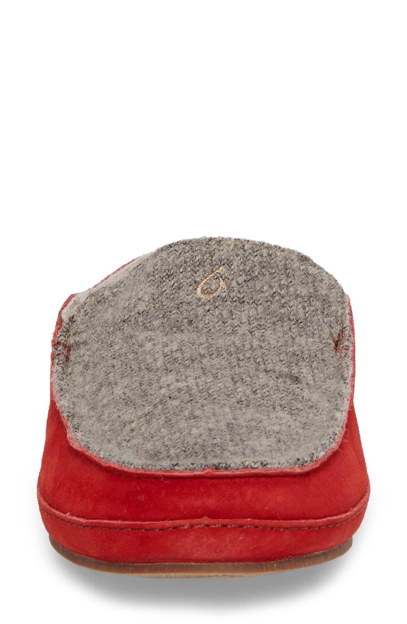 Alaula Genuine Shearling Lined Slipper,                             Alternate thumbnail 4, color,                             Cooler Grey/ Red Mud Leather