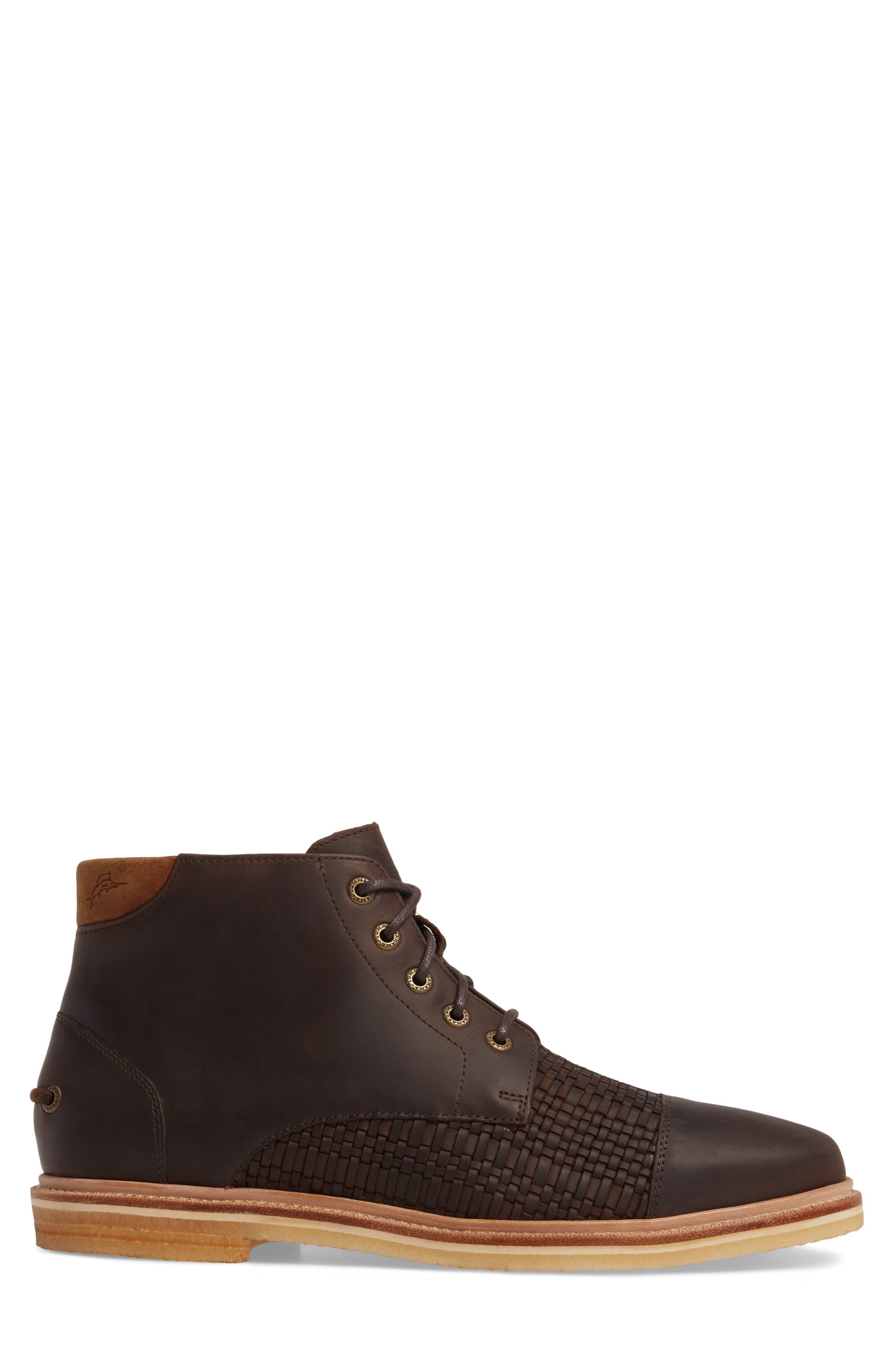 Argon Blooms Cap Toe Boot,                             Alternate thumbnail 3, color,                             Brown Leather