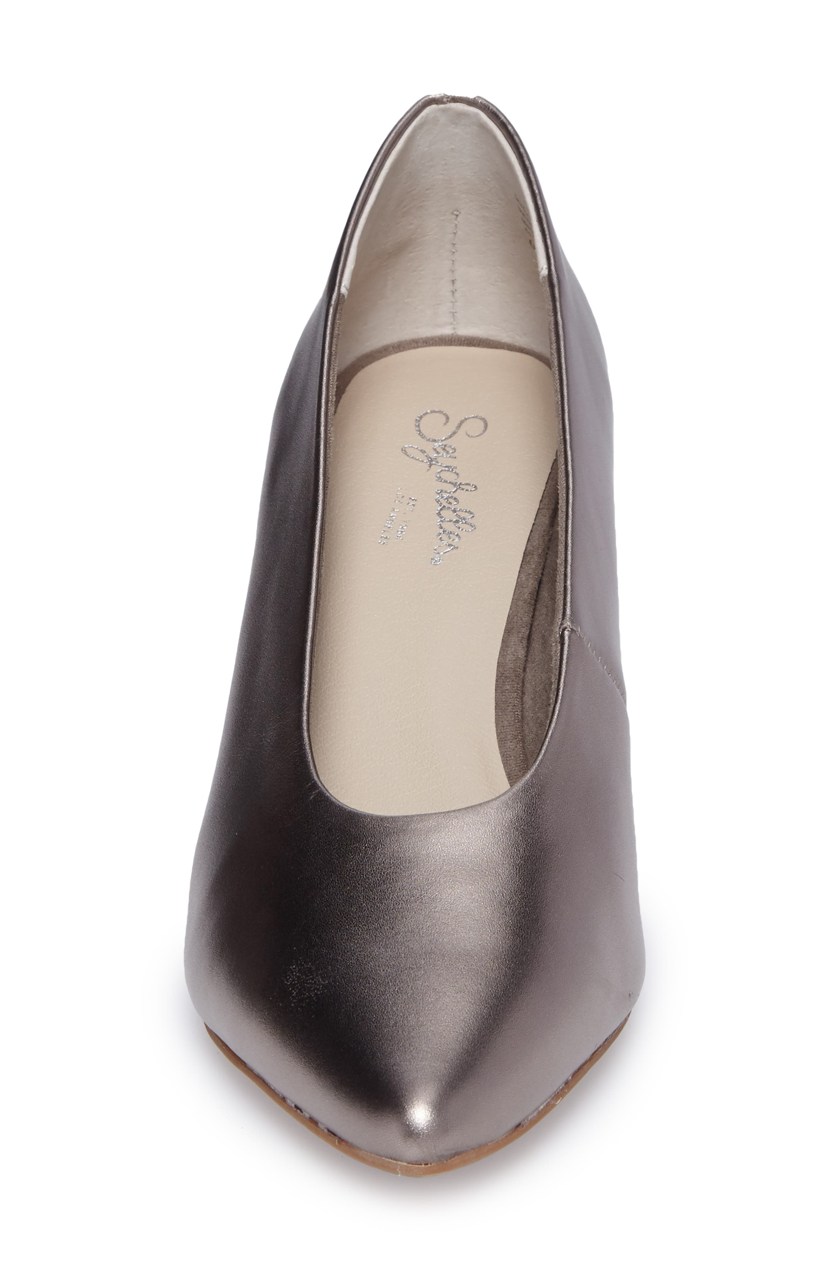 Rehearse Pointy Toe Pump,                             Alternate thumbnail 4, color,                             Pewter Leather