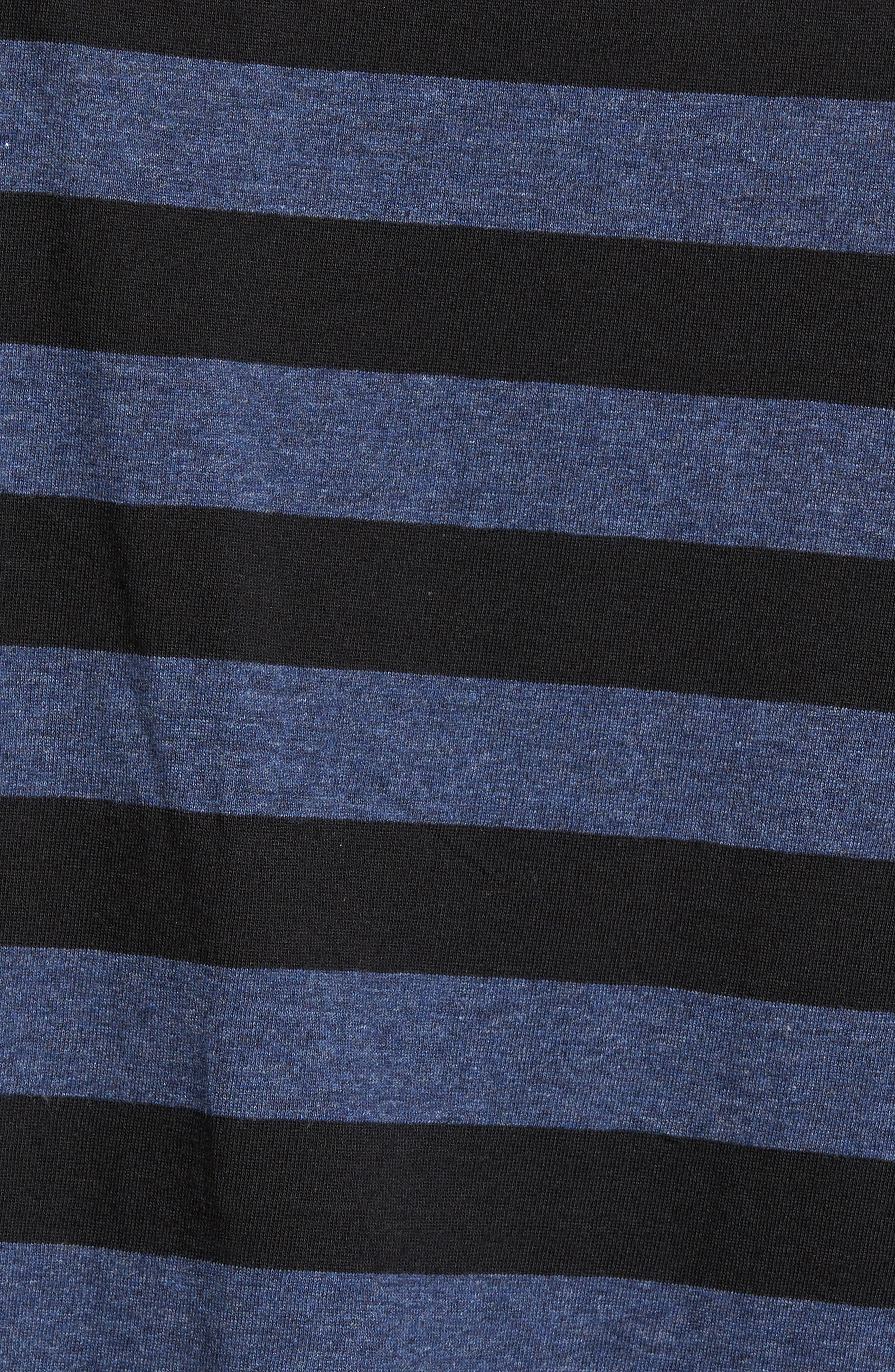 Striped Long Sleeve Henley T-Shirt,                             Alternate thumbnail 5, color,                             Heather Blue/ Black Stripe