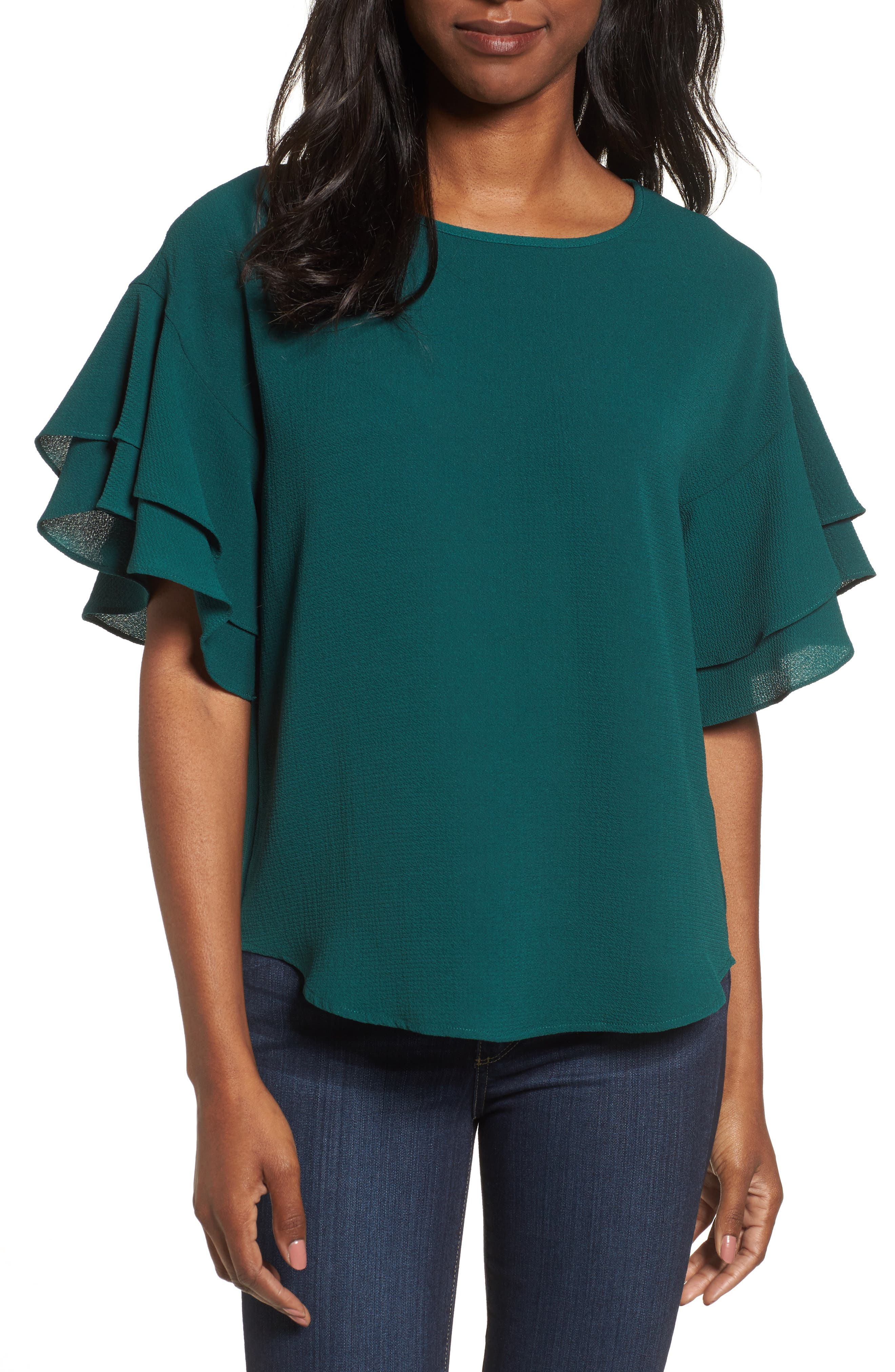 Alternate Image 1 Selected - Pleione Double Ruffle Sleeve Blouse