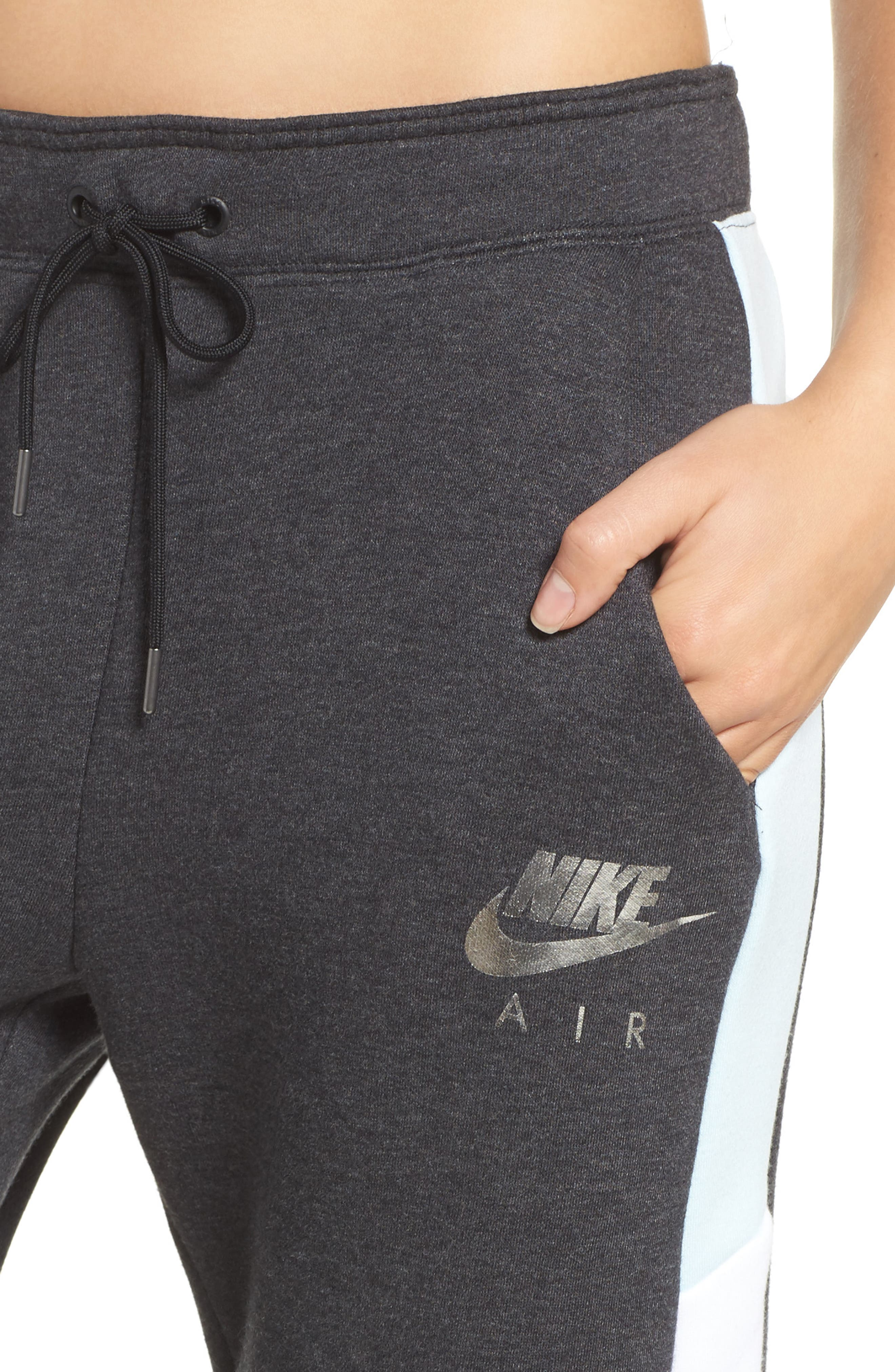 Rally Sweatpants,                             Alternate thumbnail 4, color,                             Black Htr/ White/ Glacier Blue