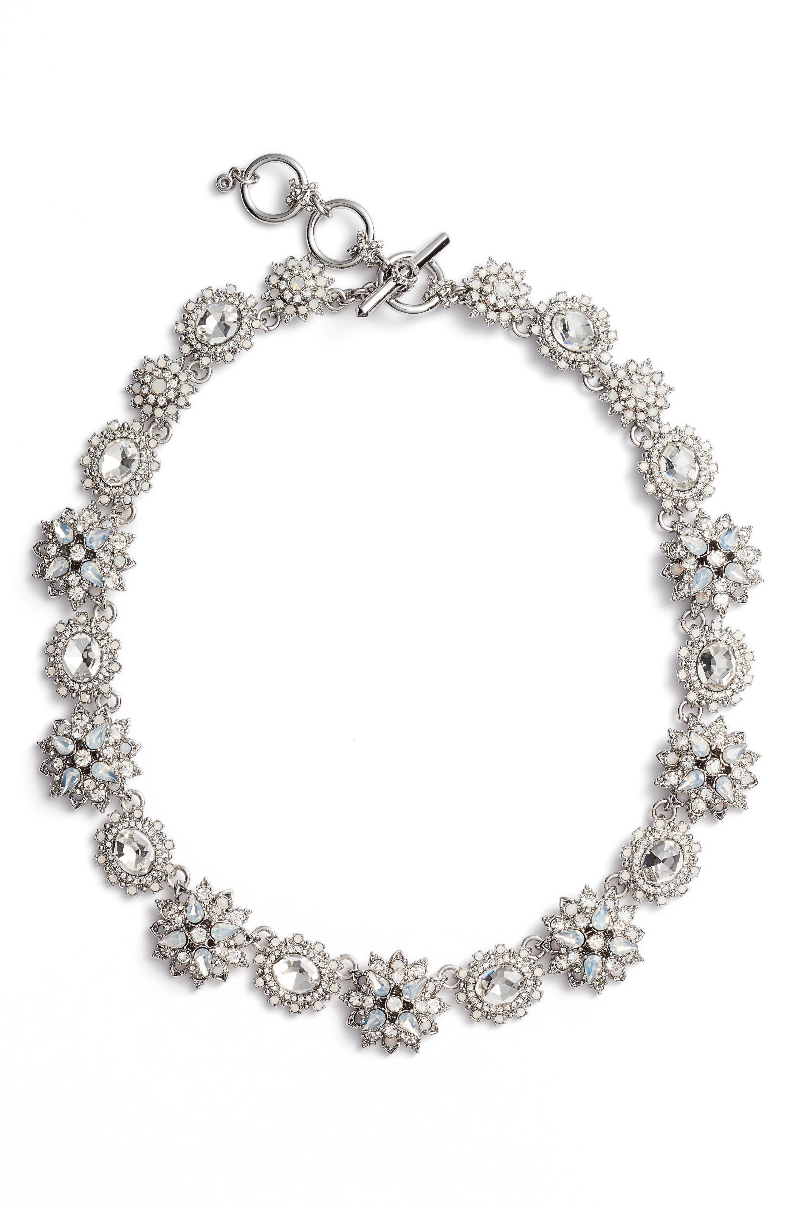 Crystal Collar Necklace,                         Main,                         color, Rhodium/ White Multi
