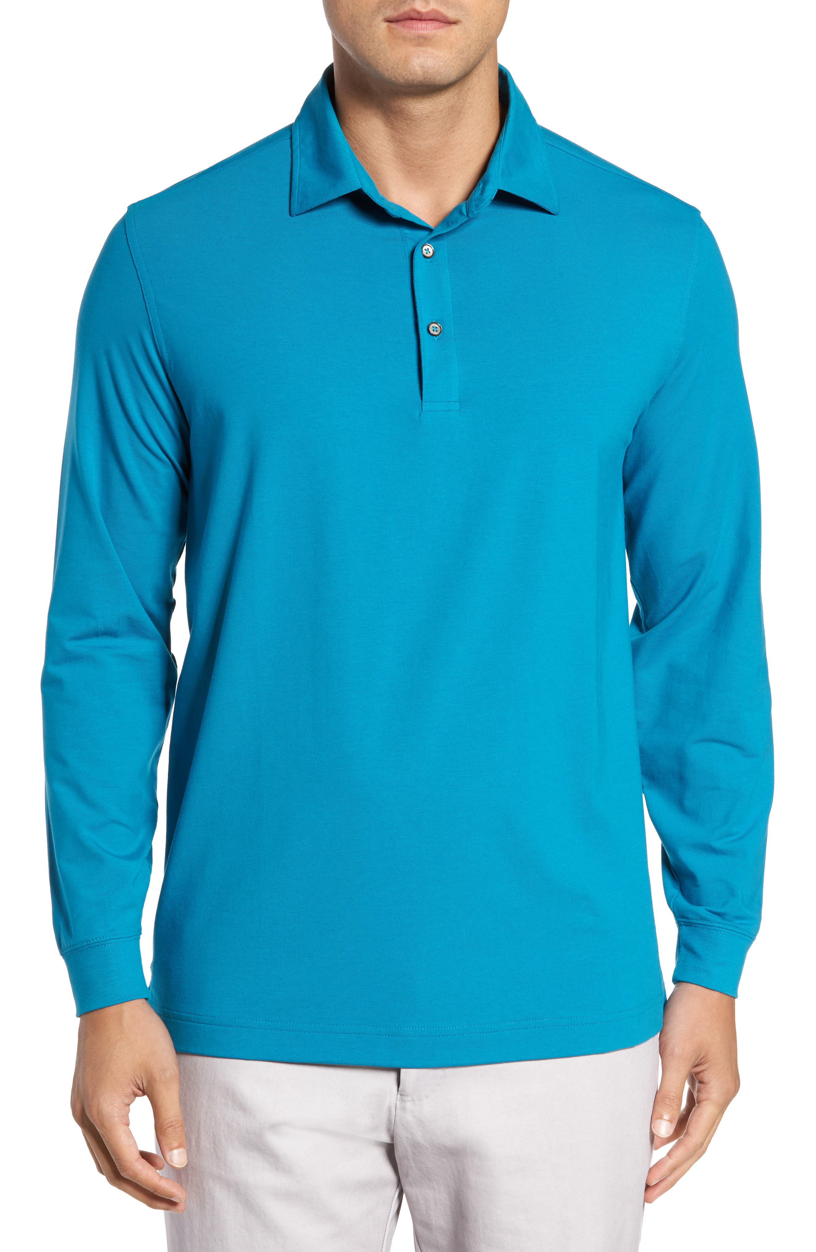 'Liquid Cotton' Long Sleeve Jersey Polo,                         Main,                         color, Santorini
