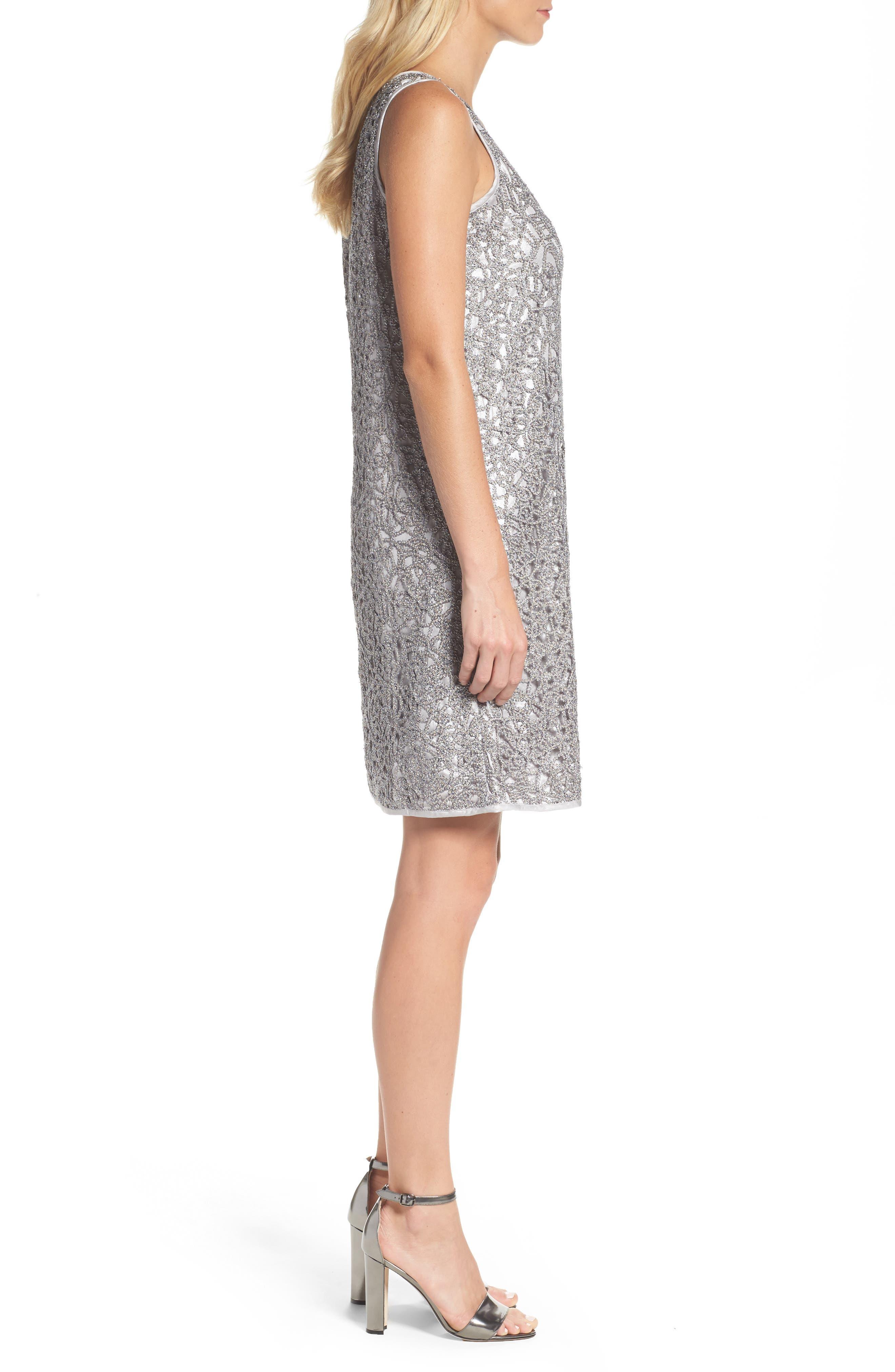 Metallic Lace Shift Dress,                             Alternate thumbnail 3, color,                             Silver