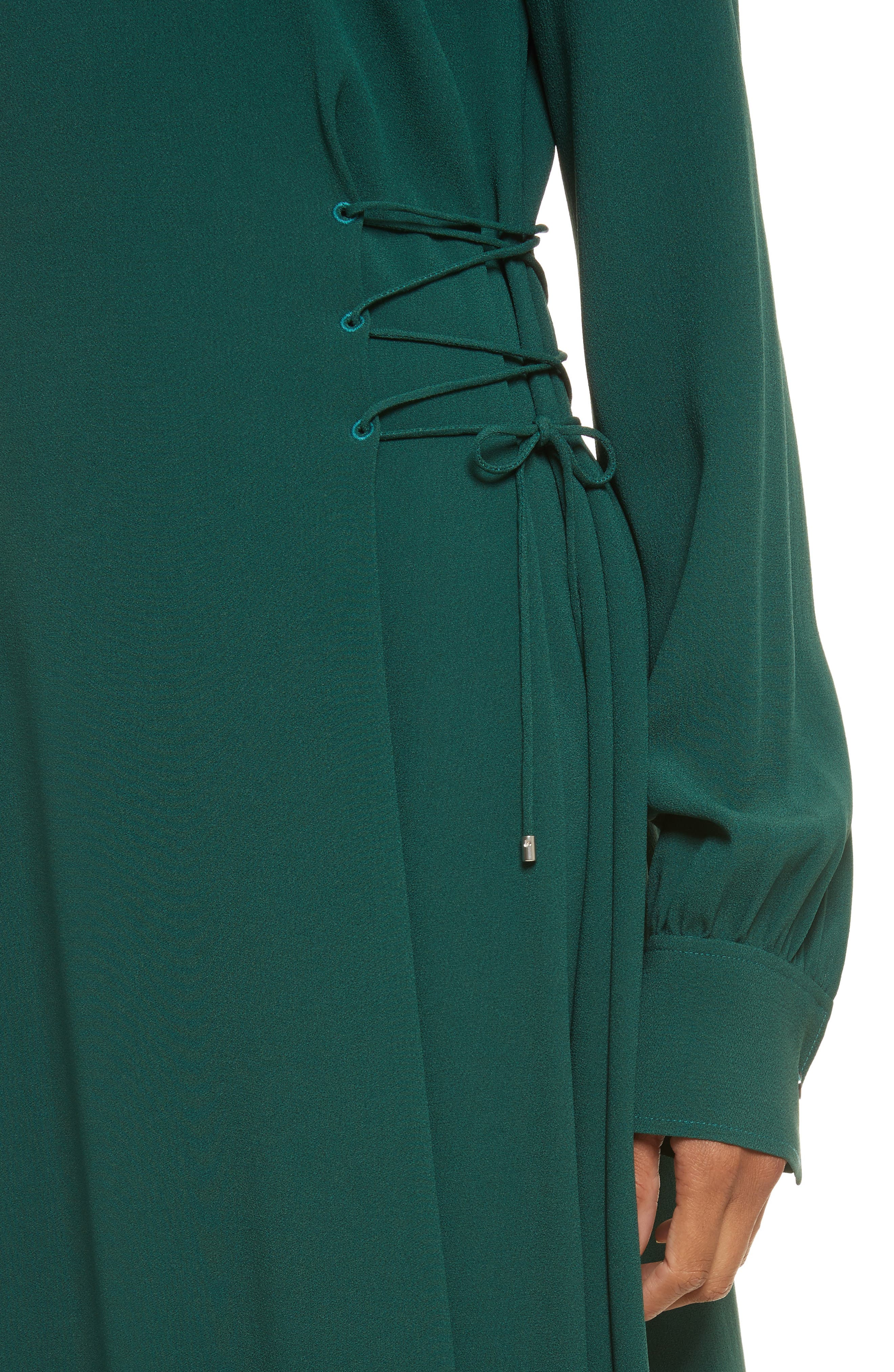 Kensington Lace-Up A-Line Dress,                             Alternate thumbnail 4, color,                             Bright Hunter