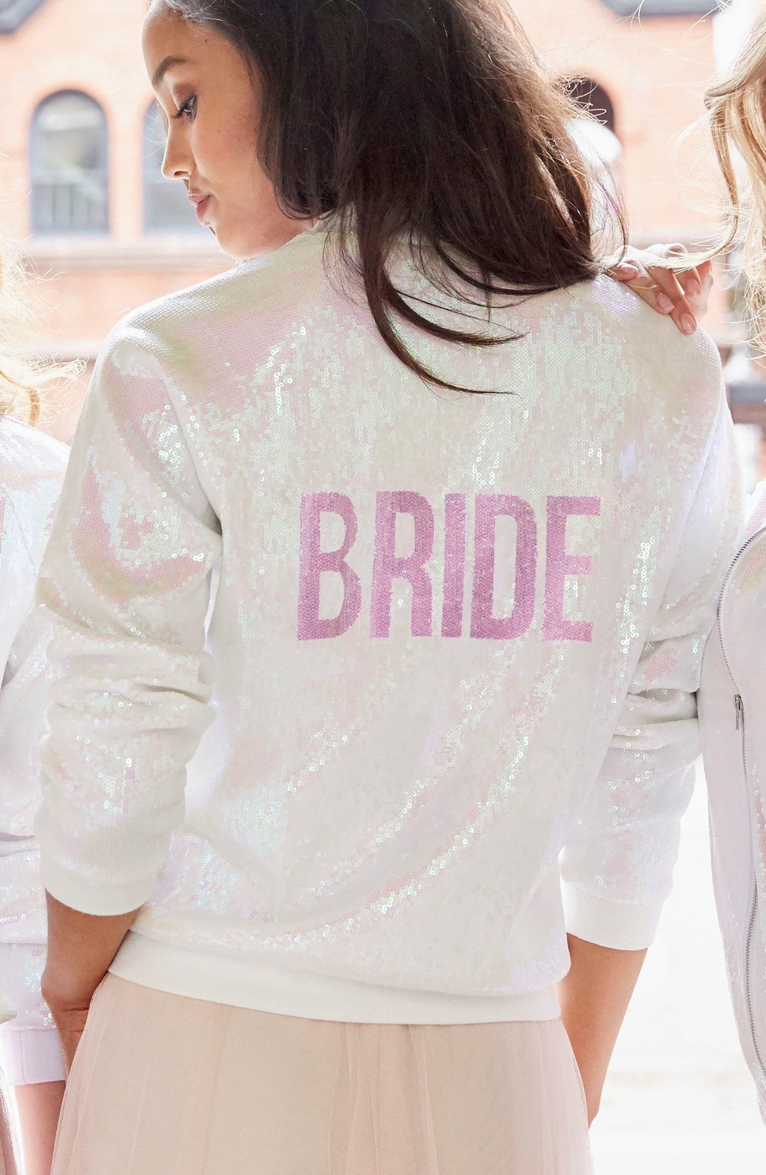Sparkle Bride Bomber Jacket,                             Alternate thumbnail 7, color,                             Sparkle Bride