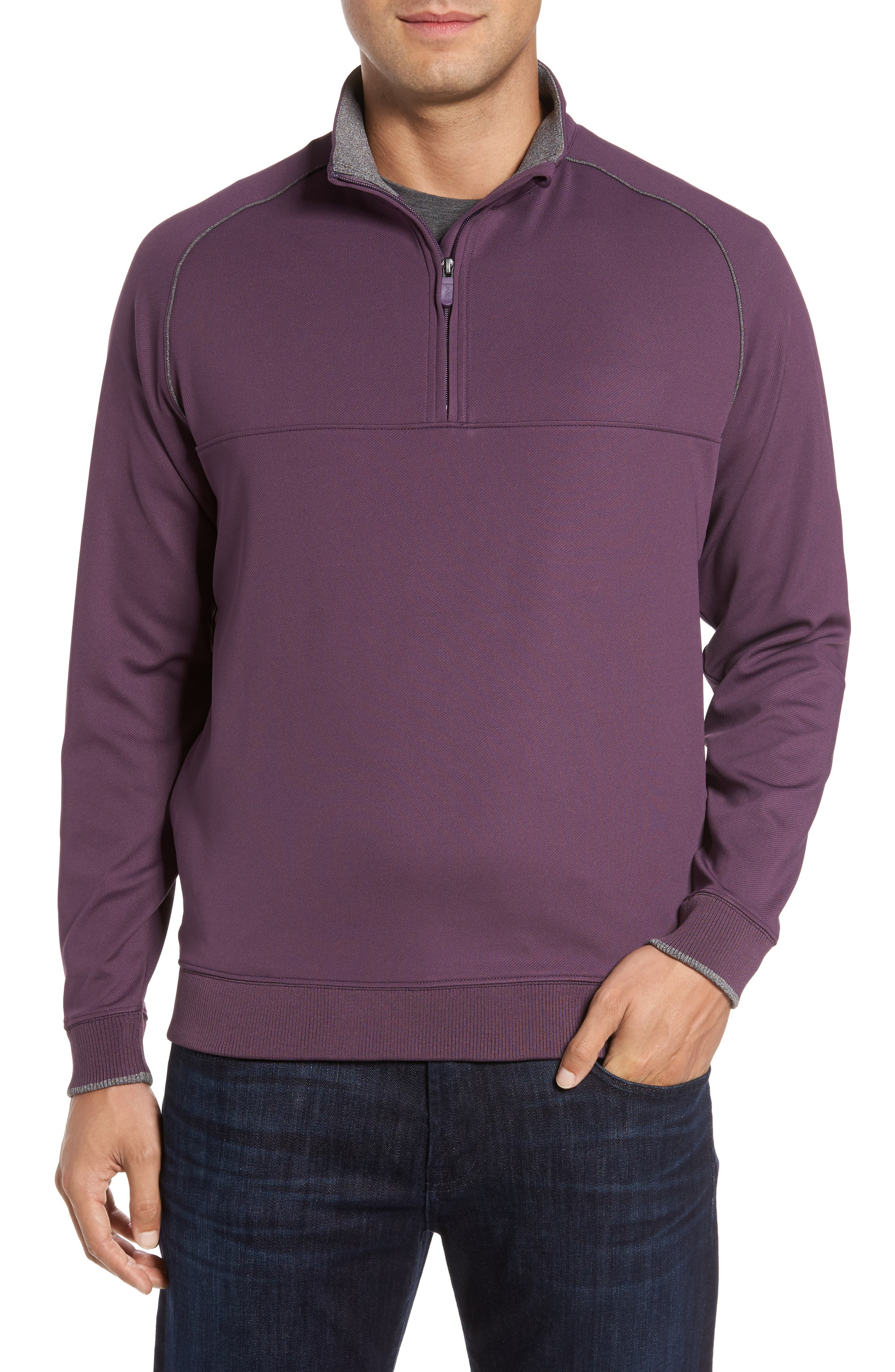 XH20 Banded Bottom Pullover,                         Main,                         color, Blackberry