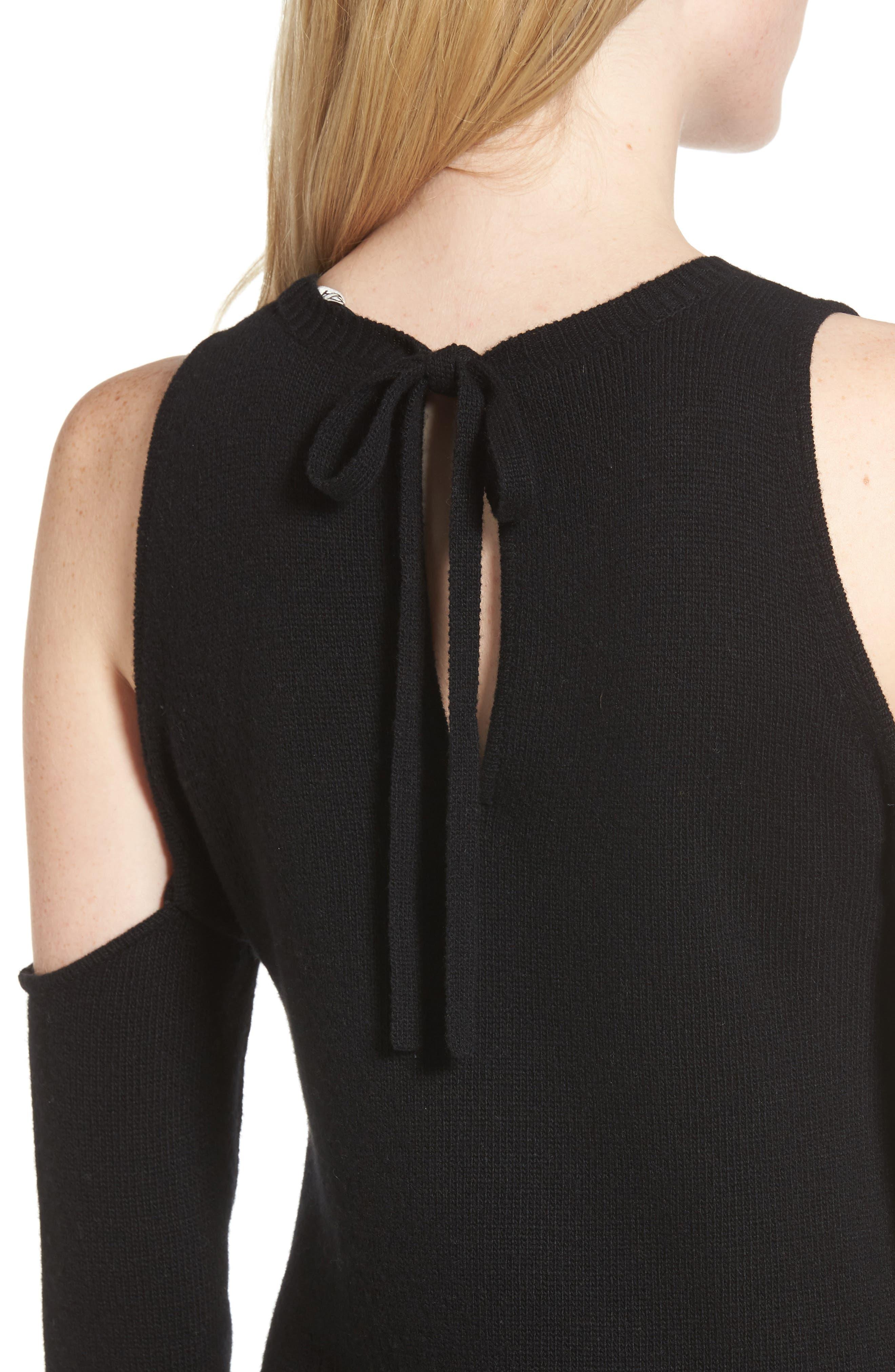 Cold Shoulder Sweater Dress,                             Alternate thumbnail 4, color,                             Black