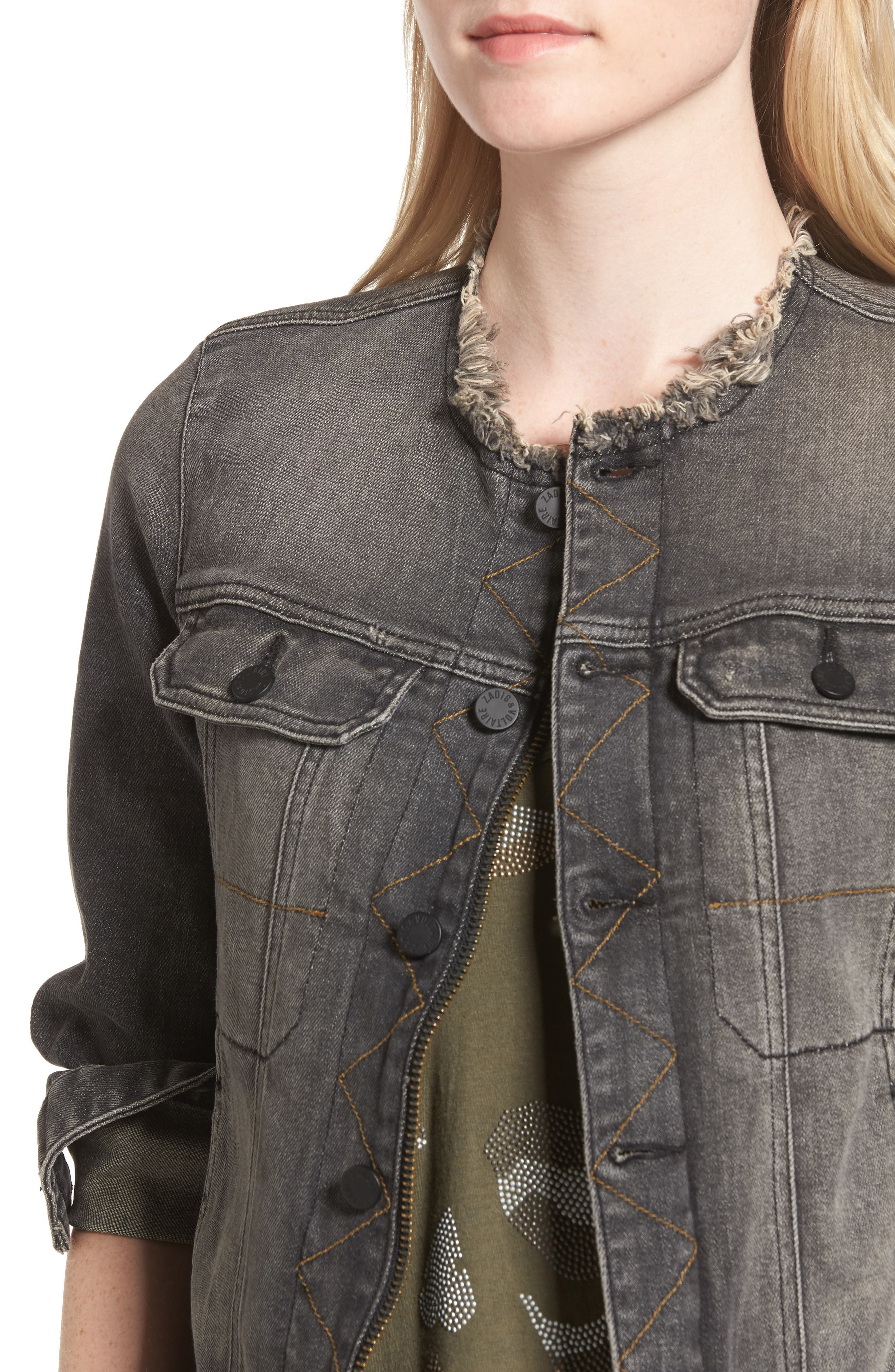 Love Now Crop Denim Jacket,                             Alternate thumbnail 4, color,                             Gris