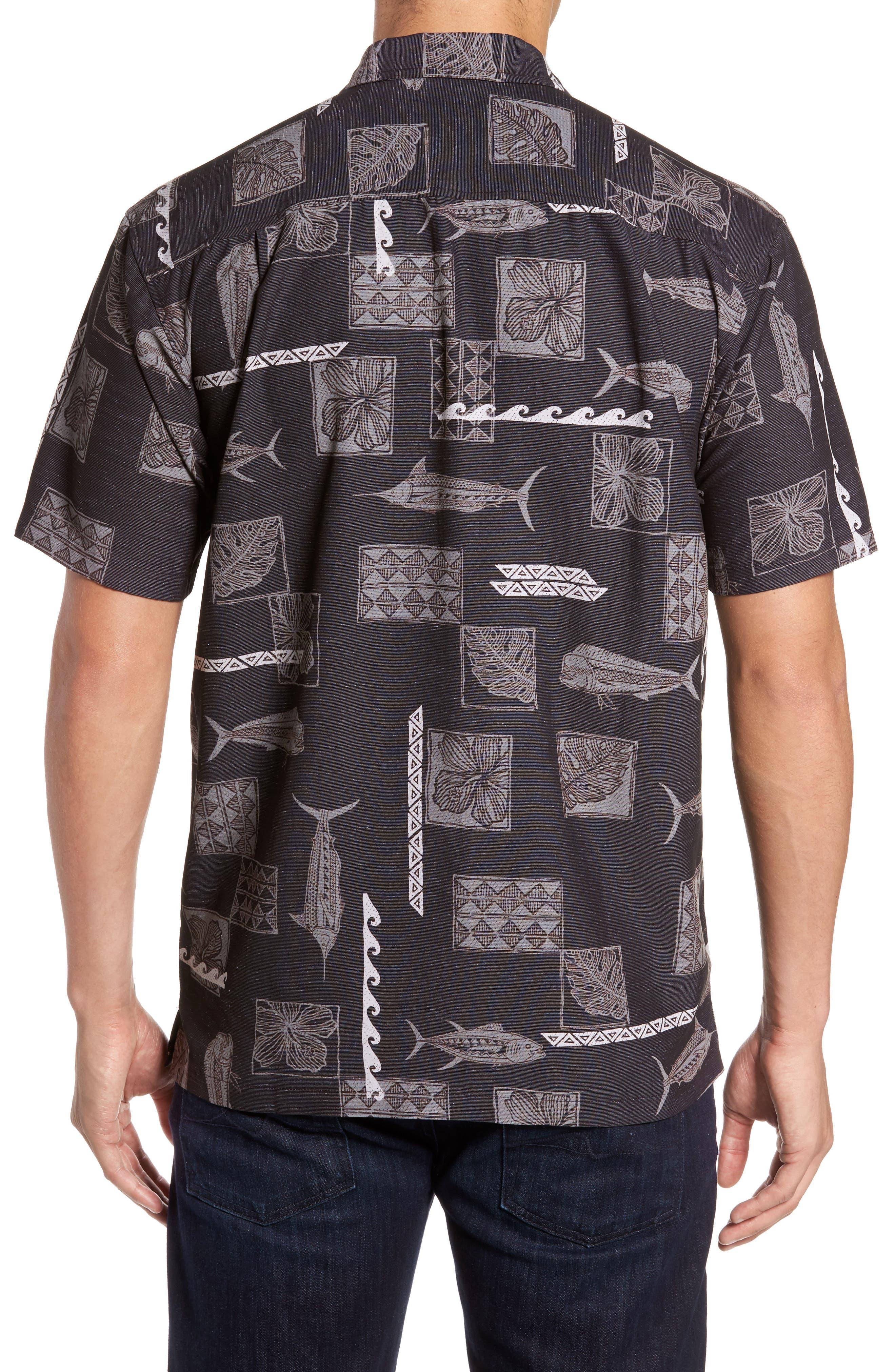 Kua Bay Print Sport Shirt,                             Alternate thumbnail 2, color,                             Black
