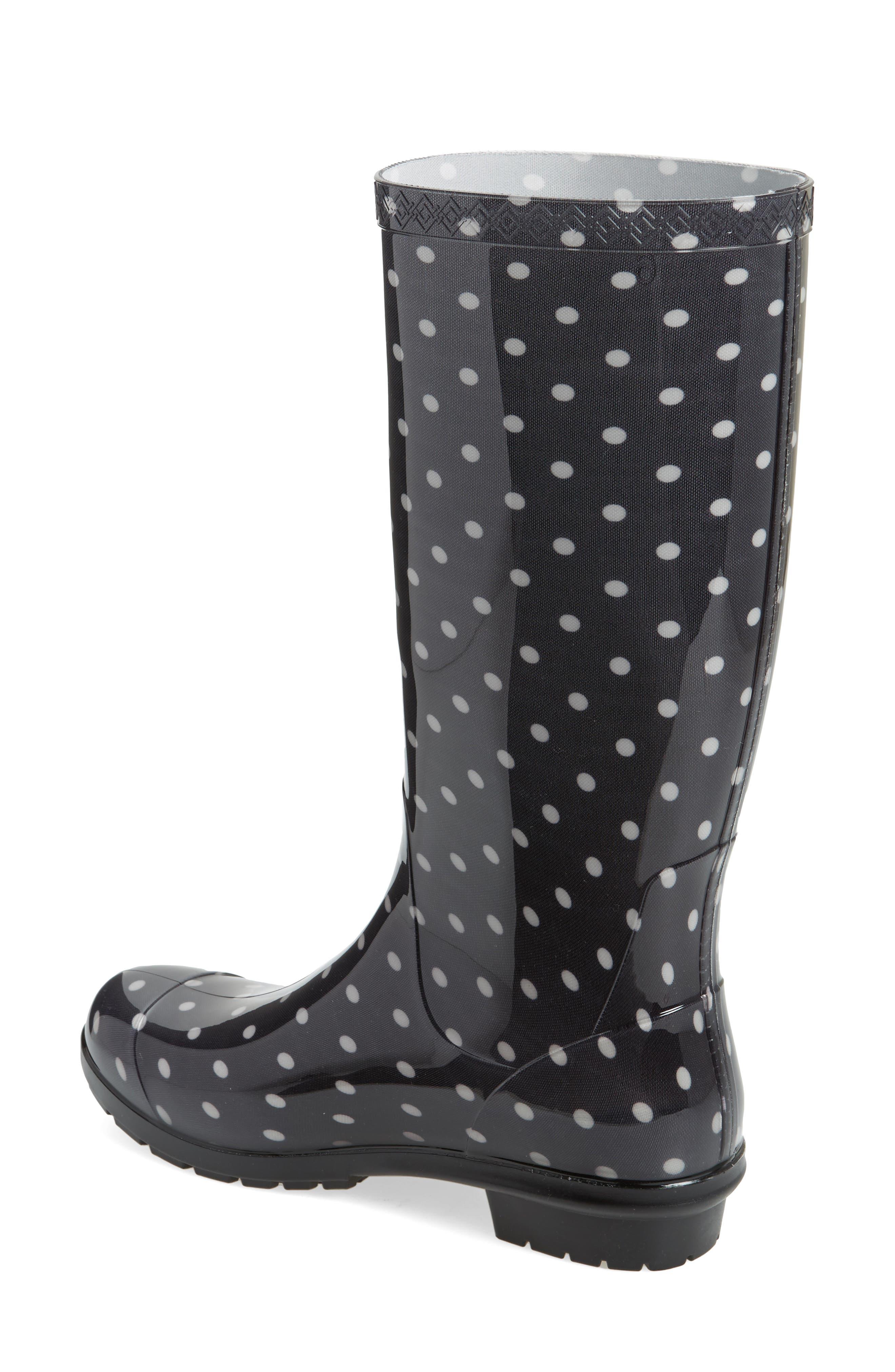 Shaye Polka Dot Rain Boot,                             Alternate thumbnail 2, color,                             Black/ White