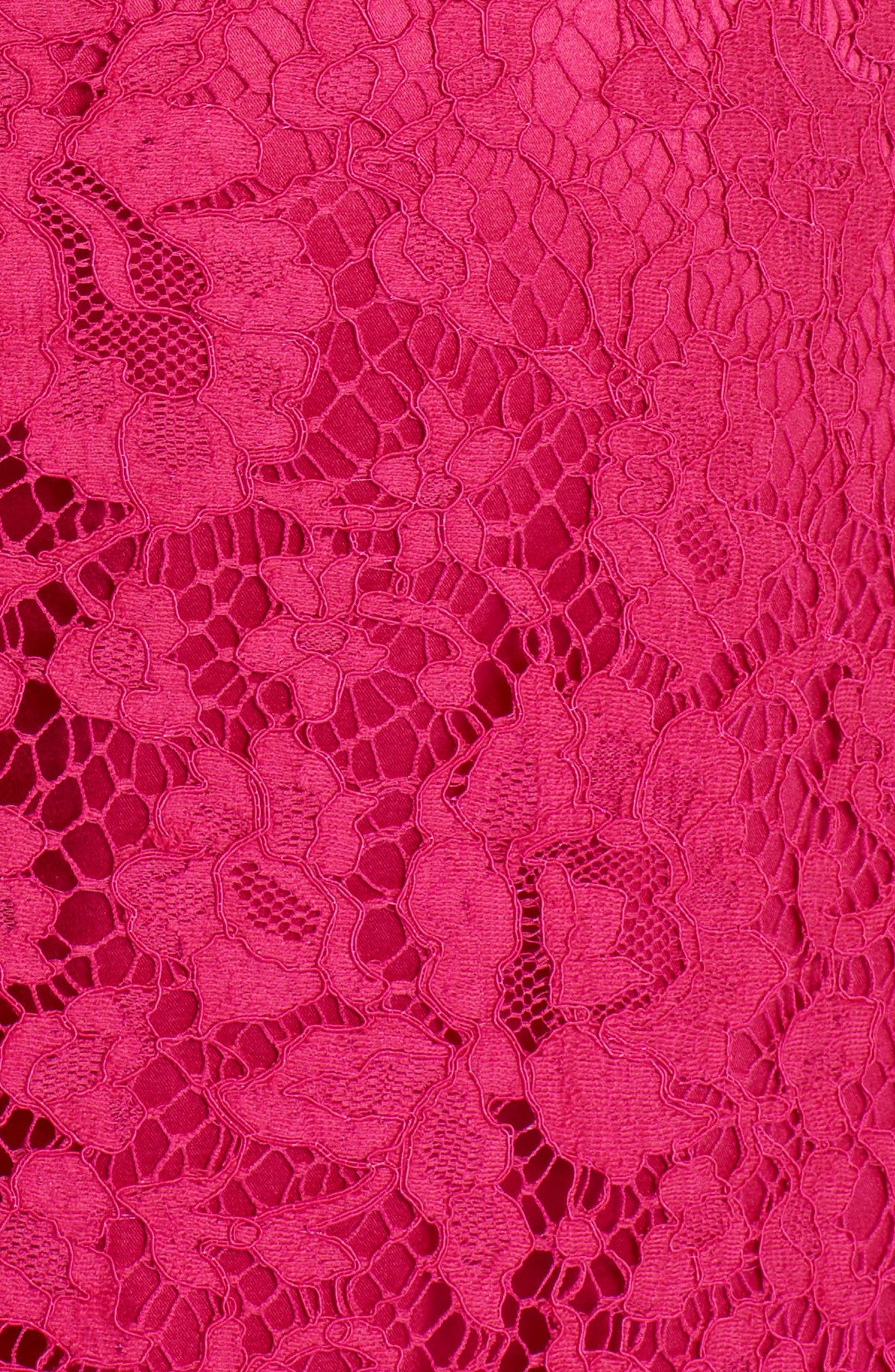 Lace A-Line Dress,                             Alternate thumbnail 5, color,                             Bright Pink