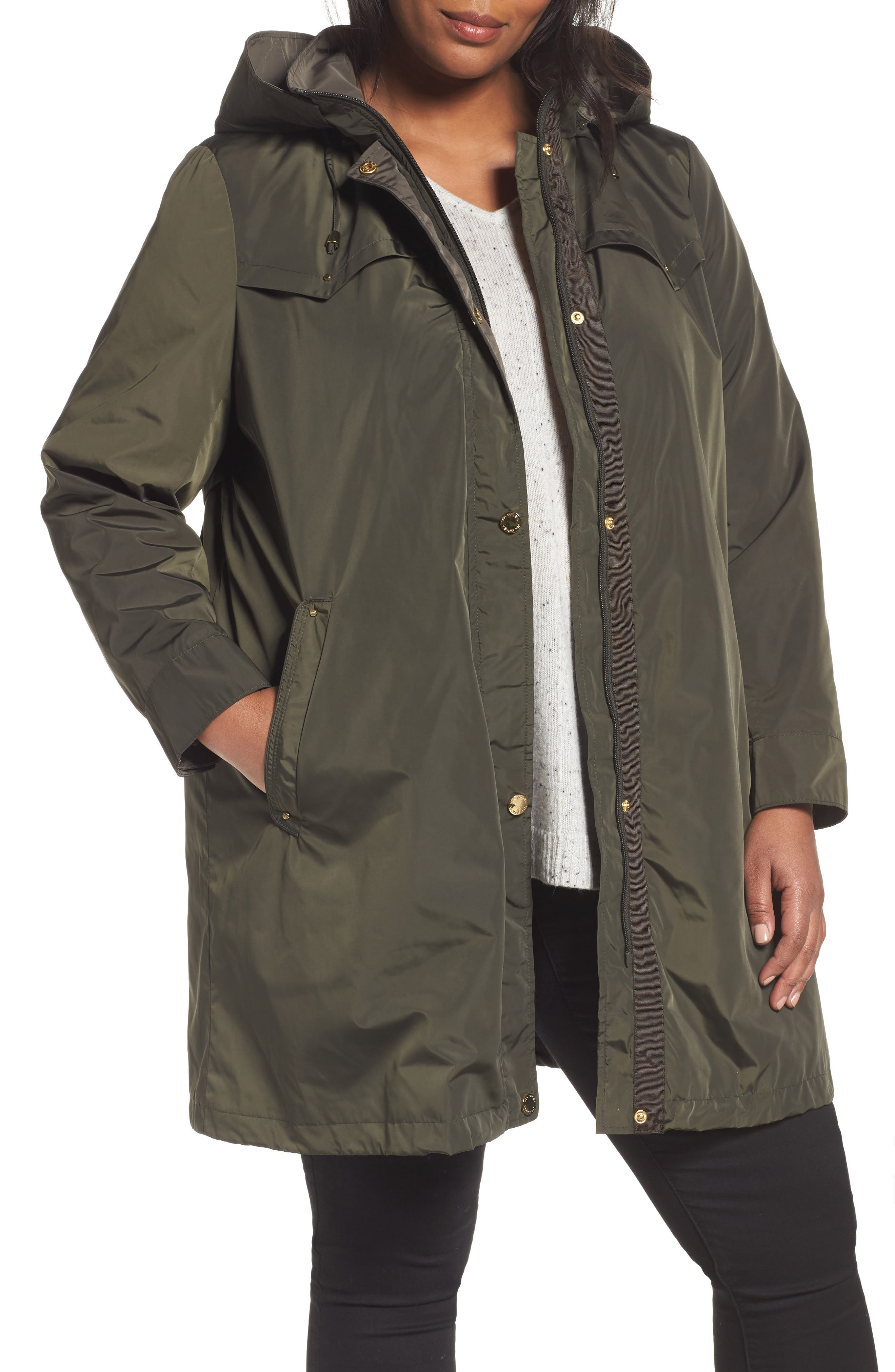Main Image - Via Spiga Hooded Packable Utility Coat (Plus Size)
