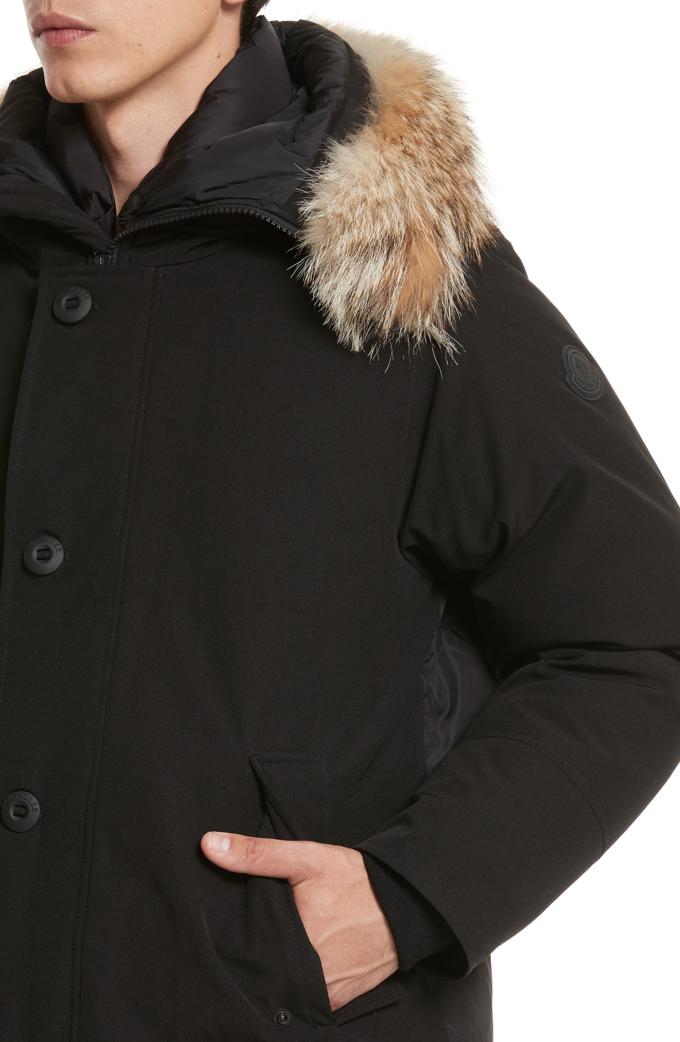 Aurelien Down Parka with Genuine Fur Trim,                             Alternate thumbnail 4, color,                             Black