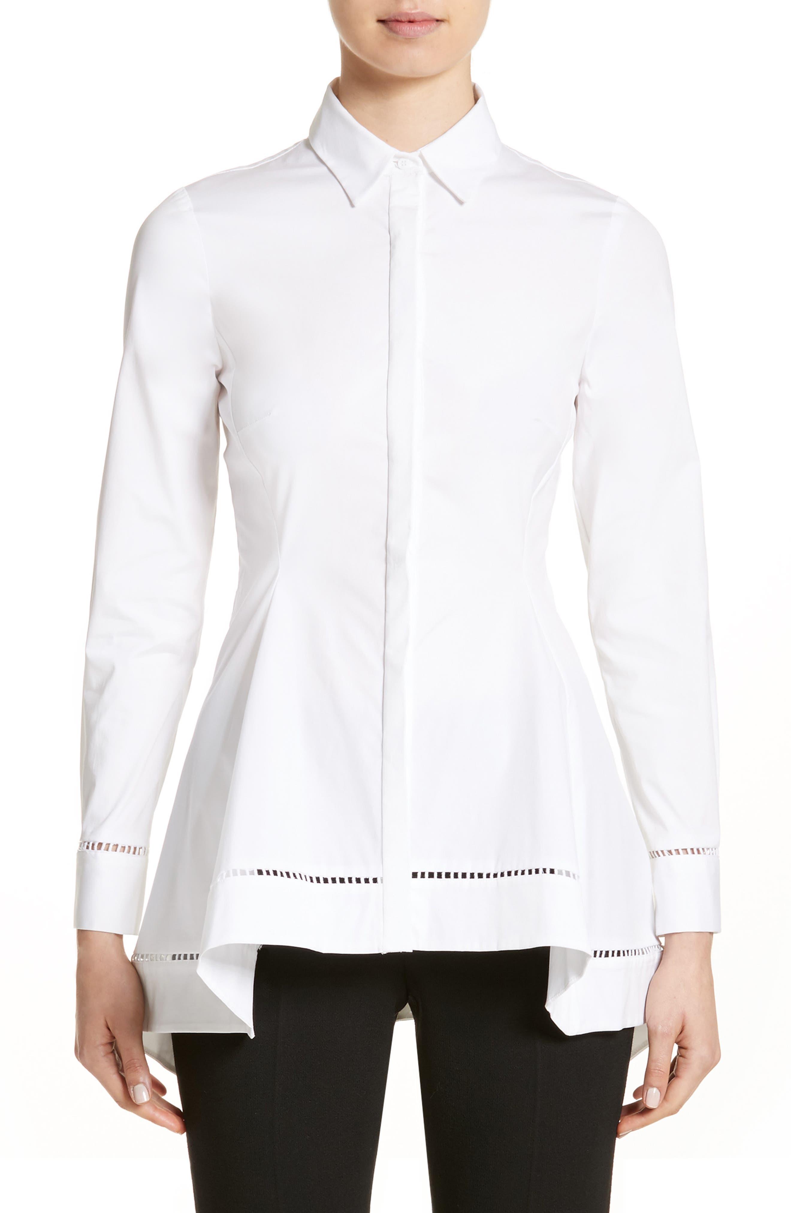 Peplum Shirt,                         Main,                         color, White