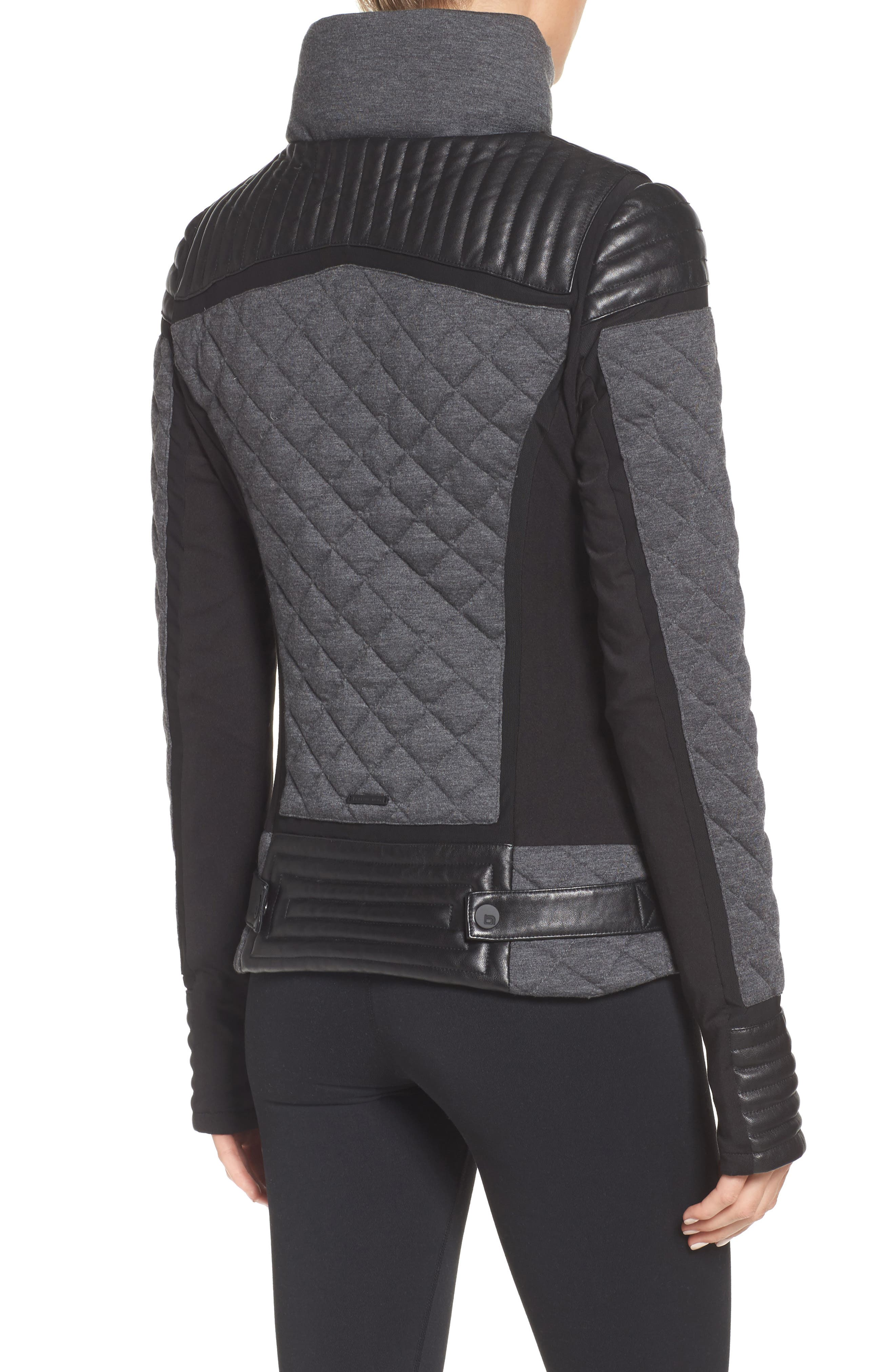 Alternate Image 2  - Blanc Noir Mesh Inset Moto Jacket