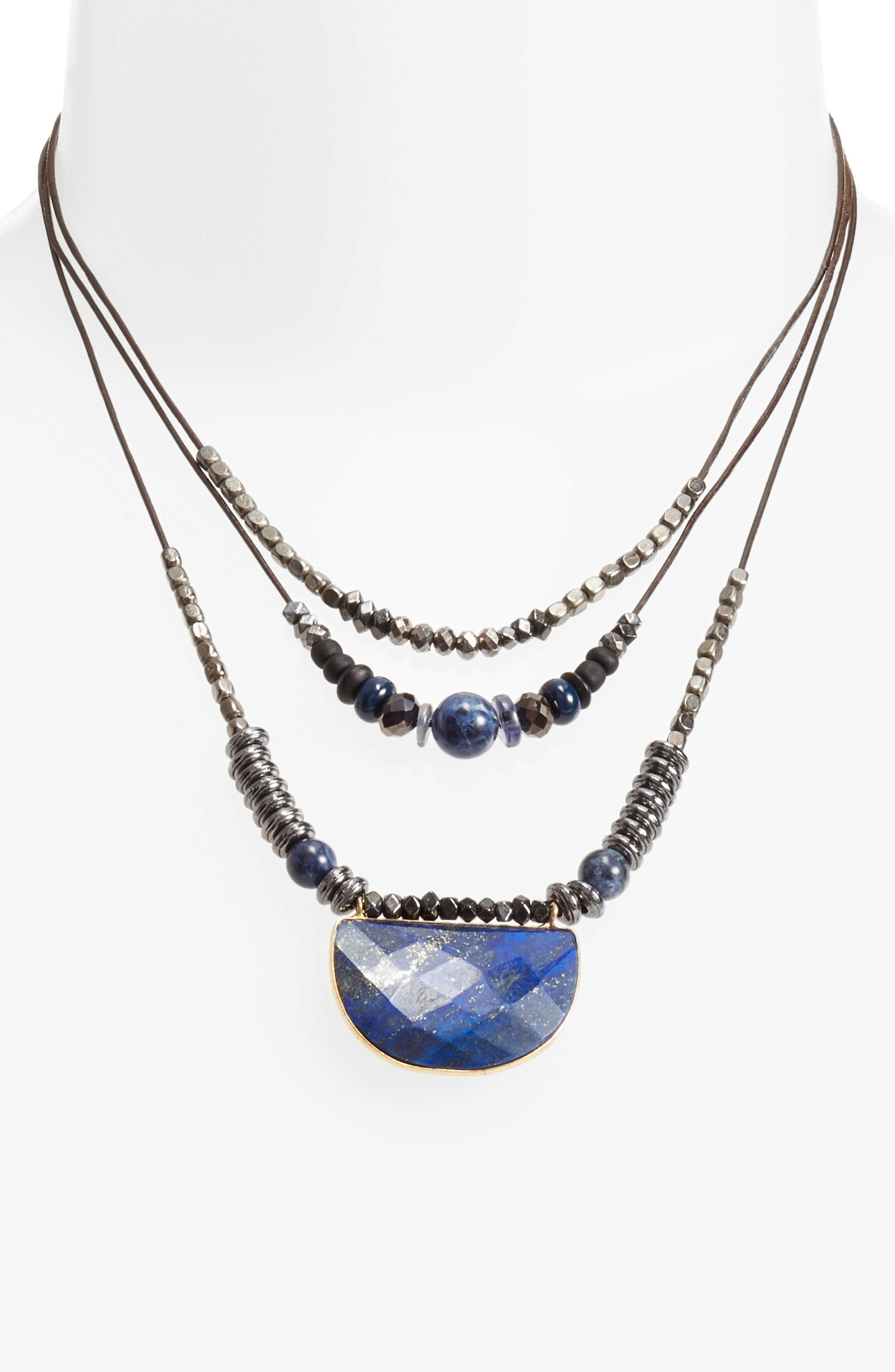 Multilayered Necklace,                         Main,                         color, Grey