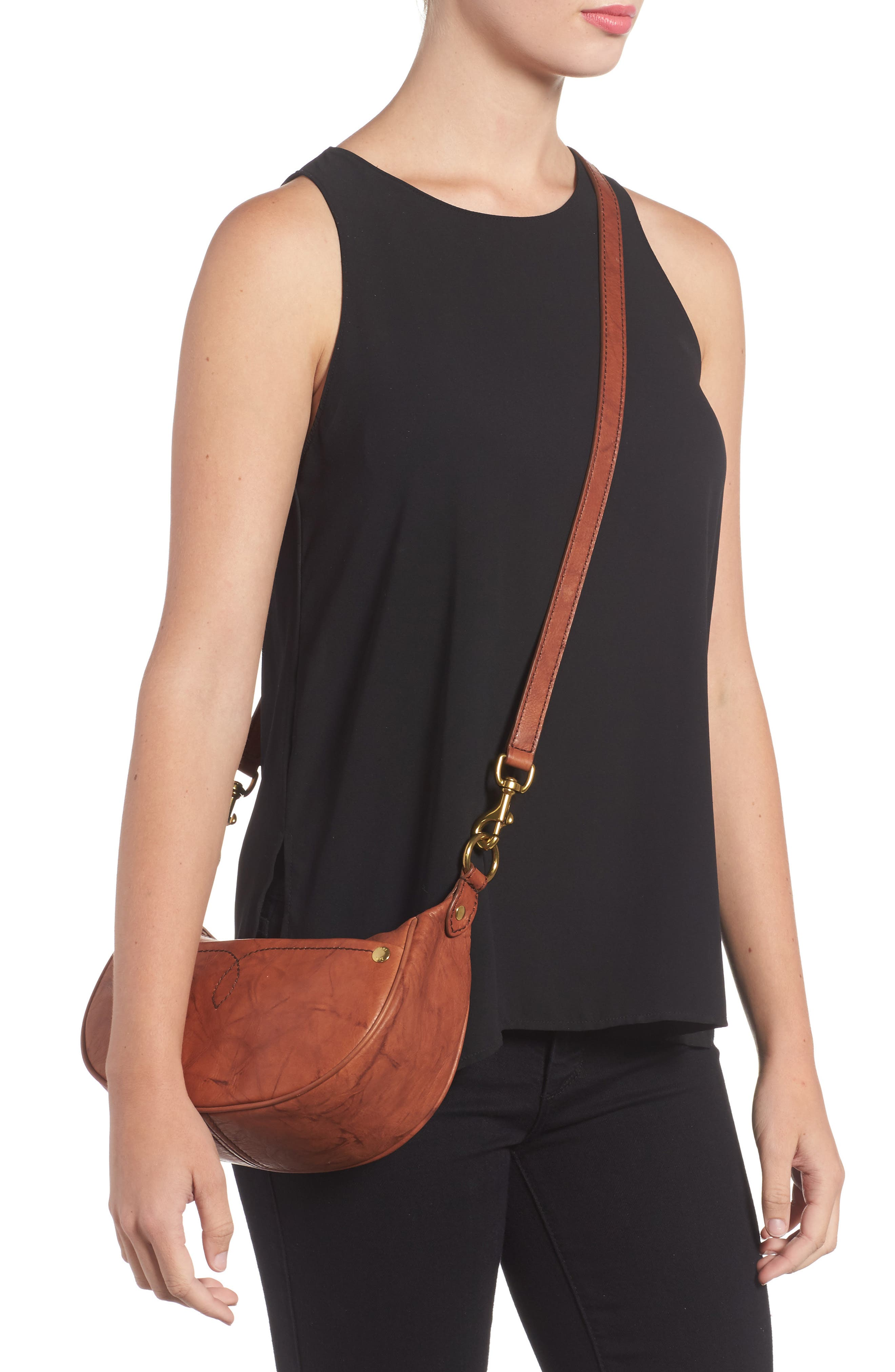 Small Campus Leather Crossbody Bag,                             Alternate thumbnail 2, color,                             Saddle