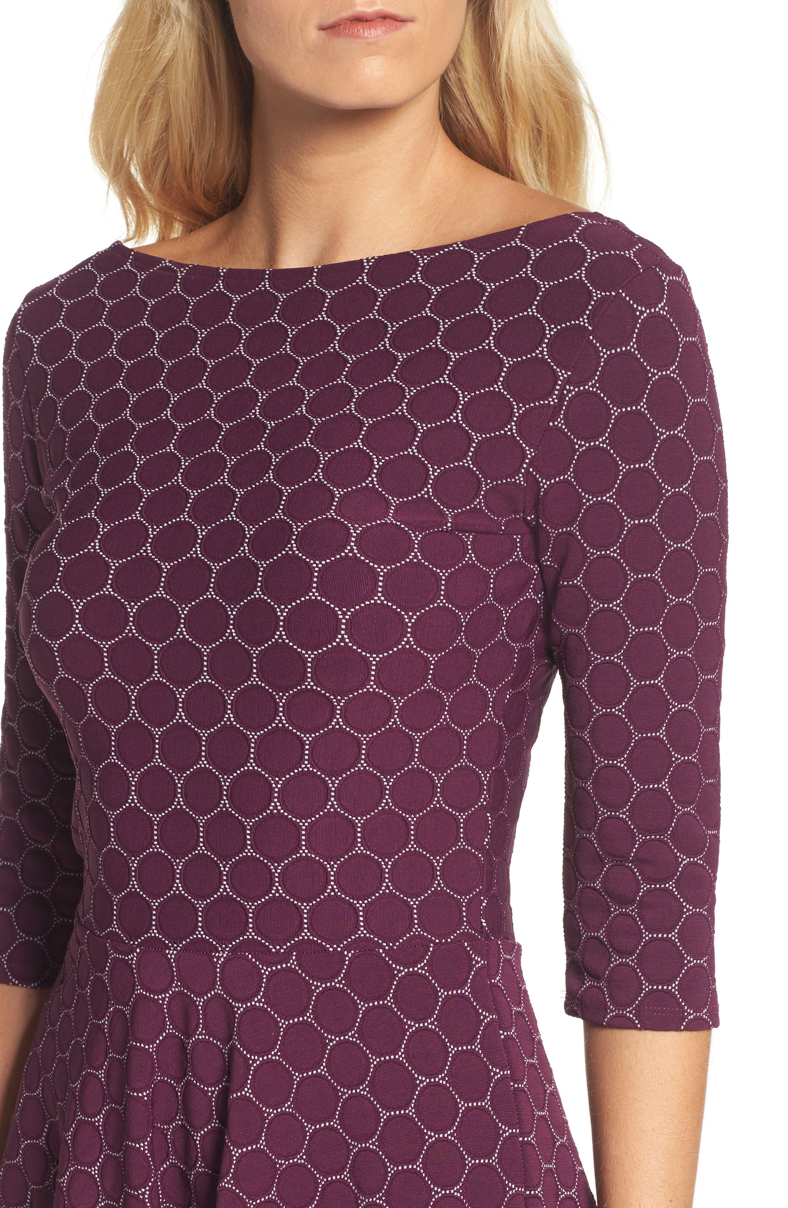Circle Knit Fit & Flare Dress,                             Alternate thumbnail 4, color,                             Purple