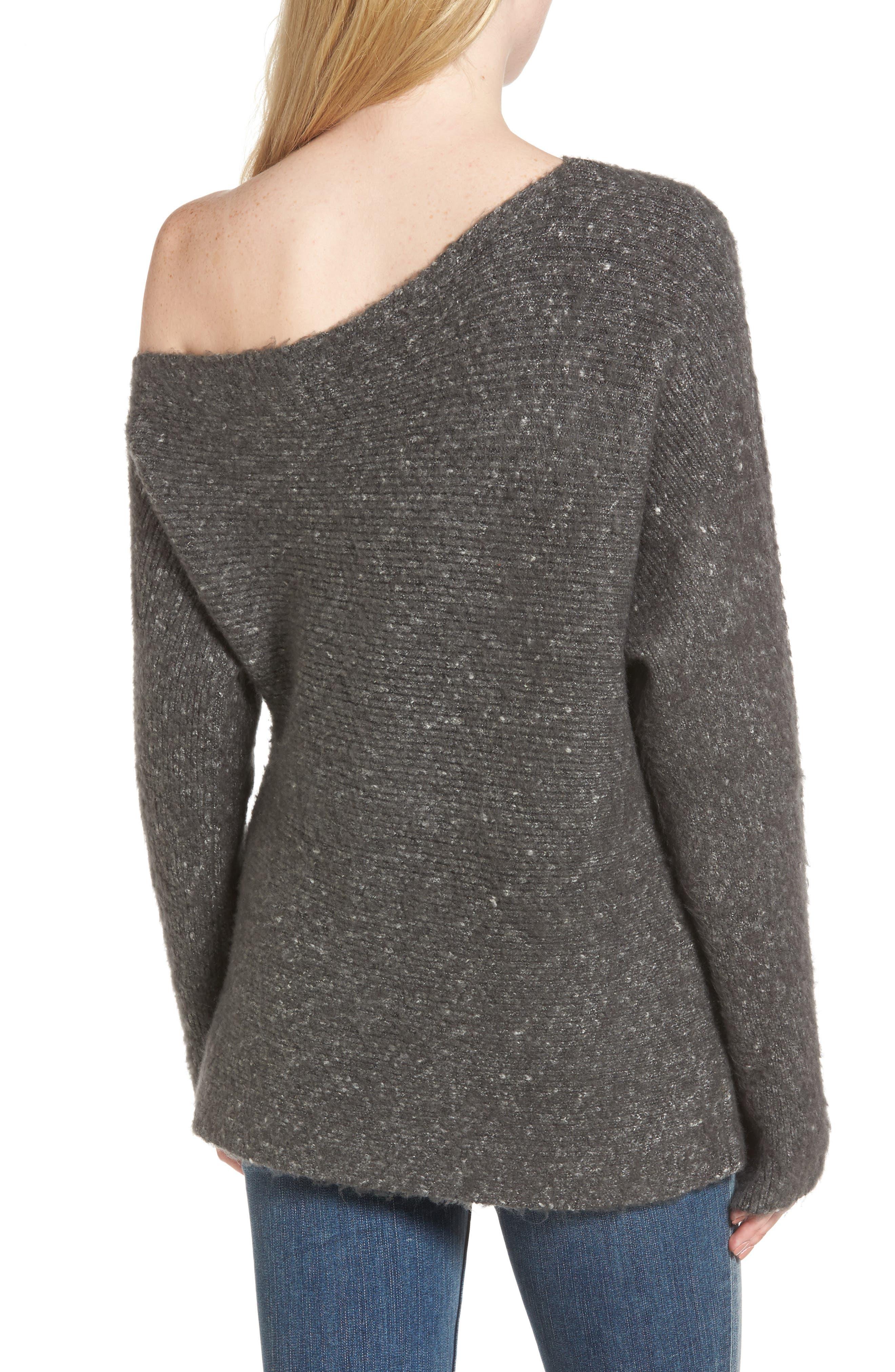 Alternate Image 2  - Treasure & Bond One-Shoulder Ribbed Sweater