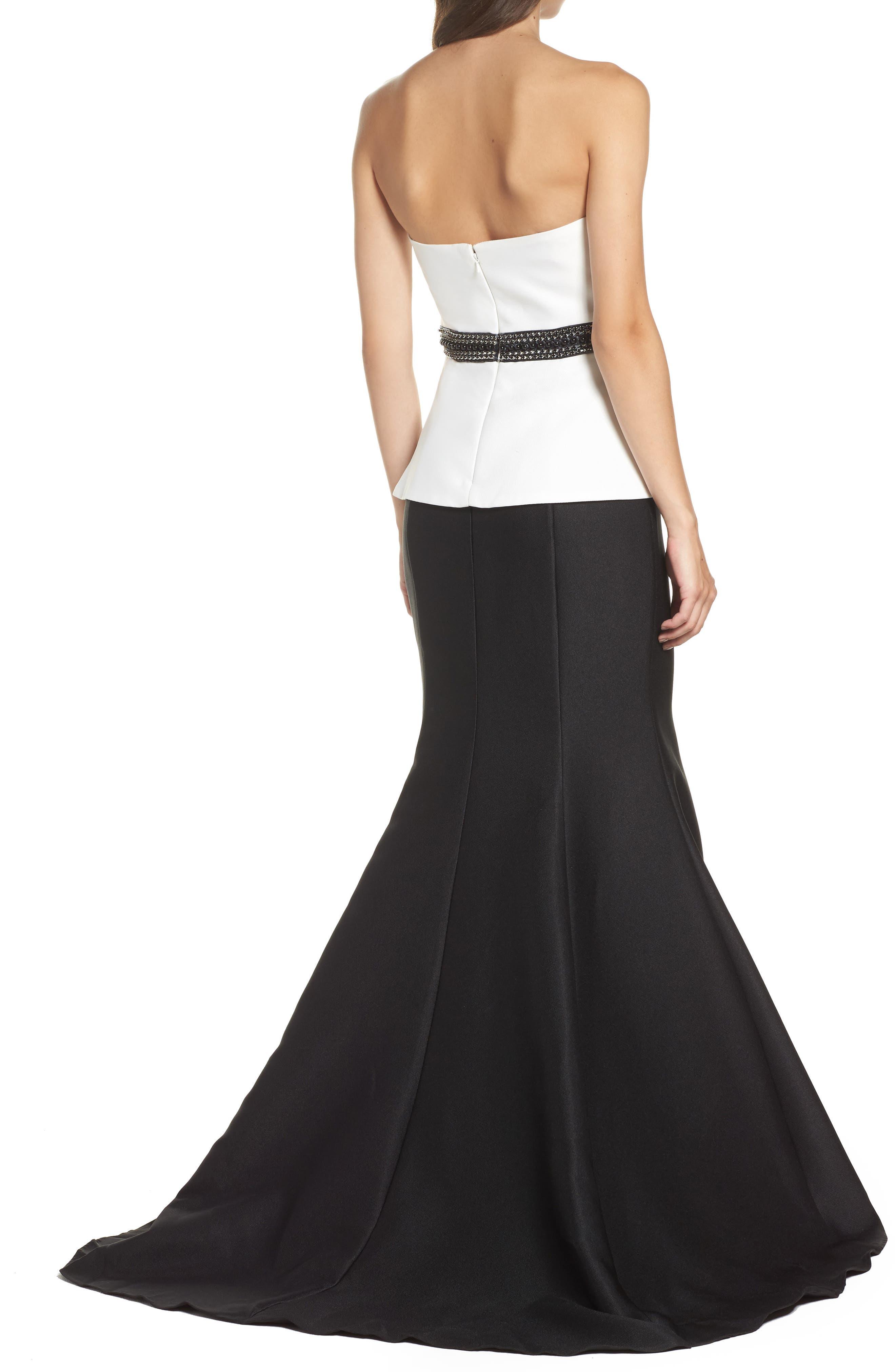 Color Block Strapless Mermaid Gown,                             Alternate thumbnail 2, color,                             Black/ White