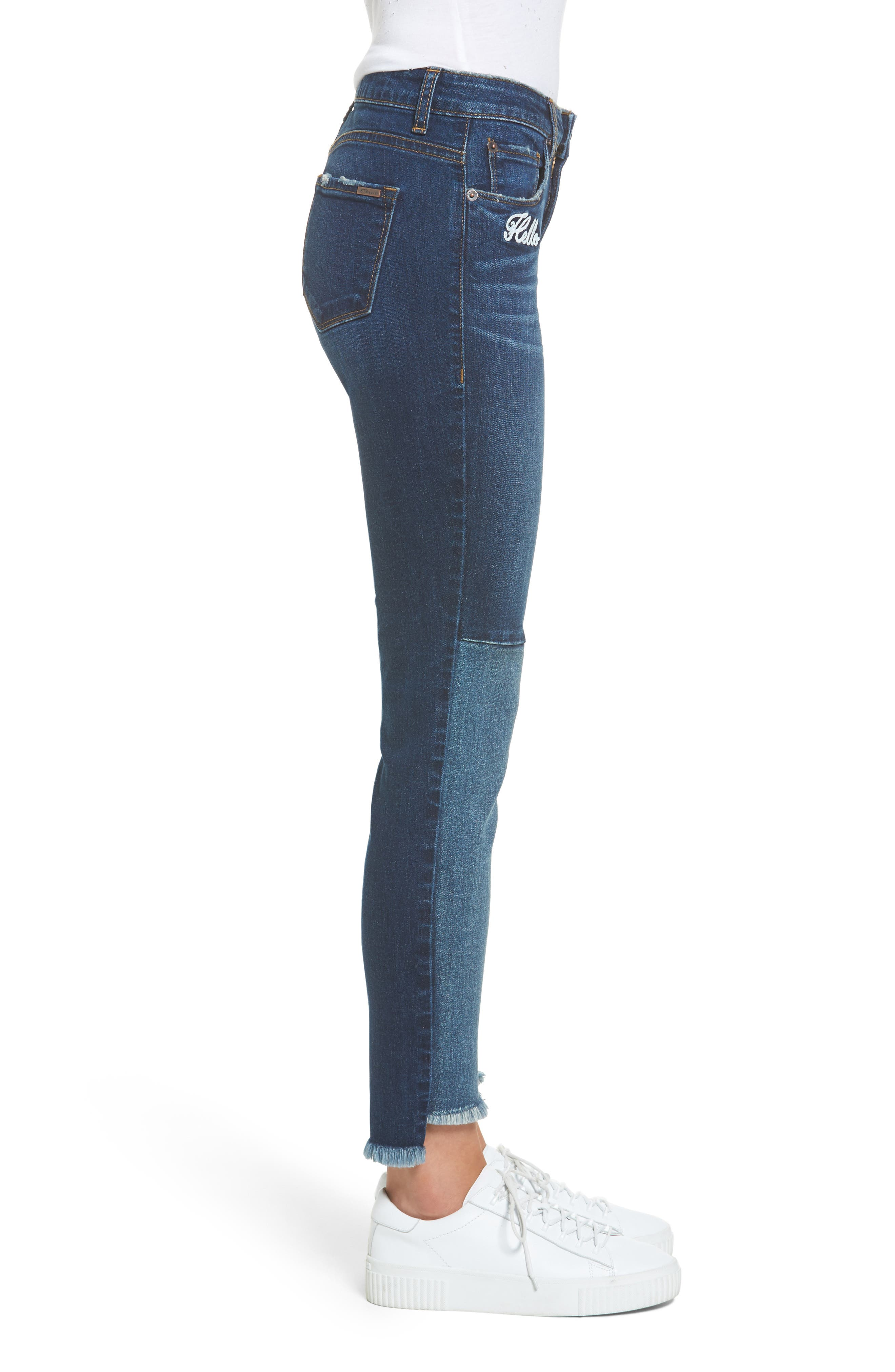 Piper Embroidered Skinny Jeans,                             Alternate thumbnail 3, color,                             Valencia