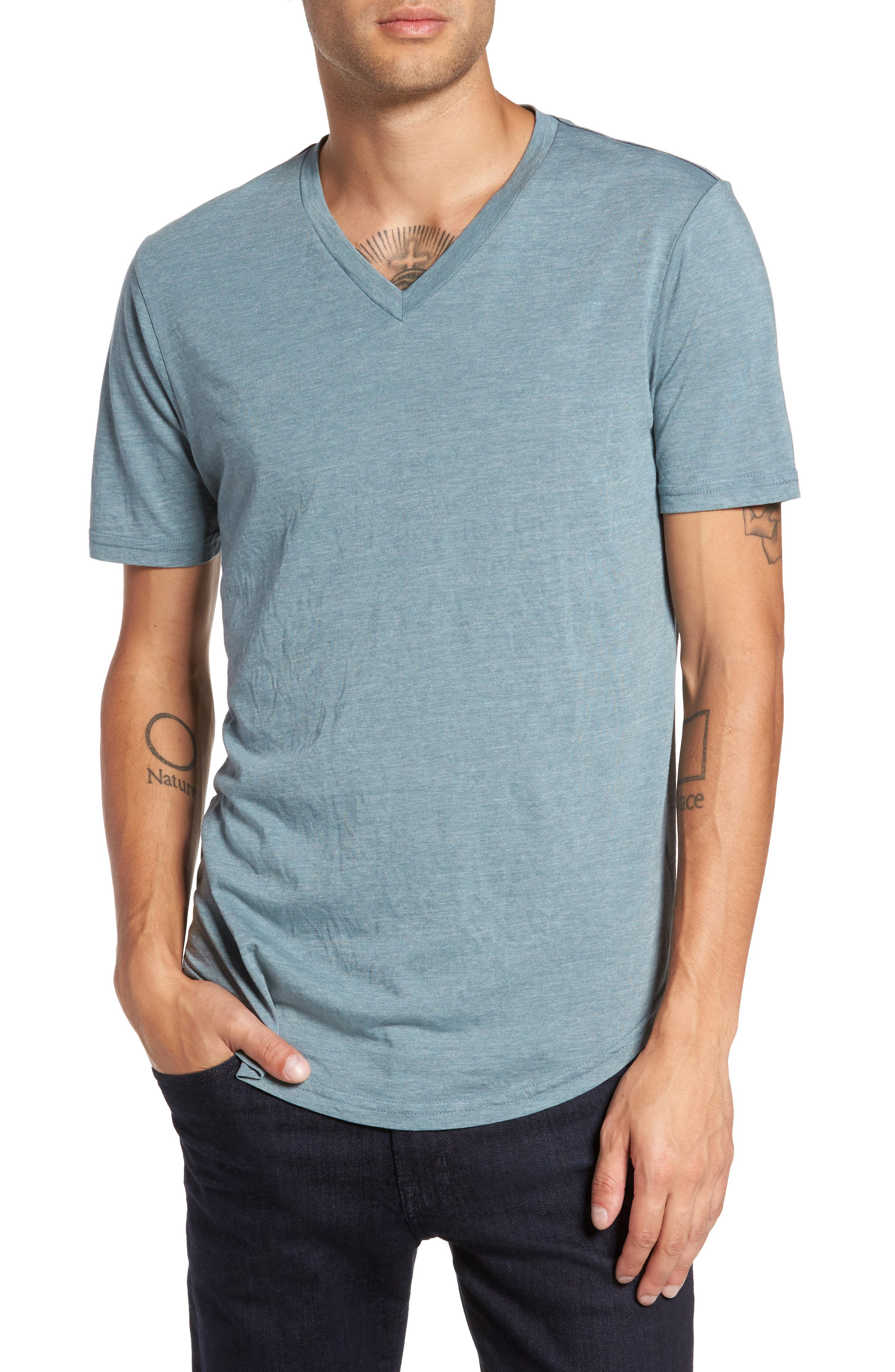 Scallop Triblend V-Neck T-Shirt,                         Main,                         color, Real Teal