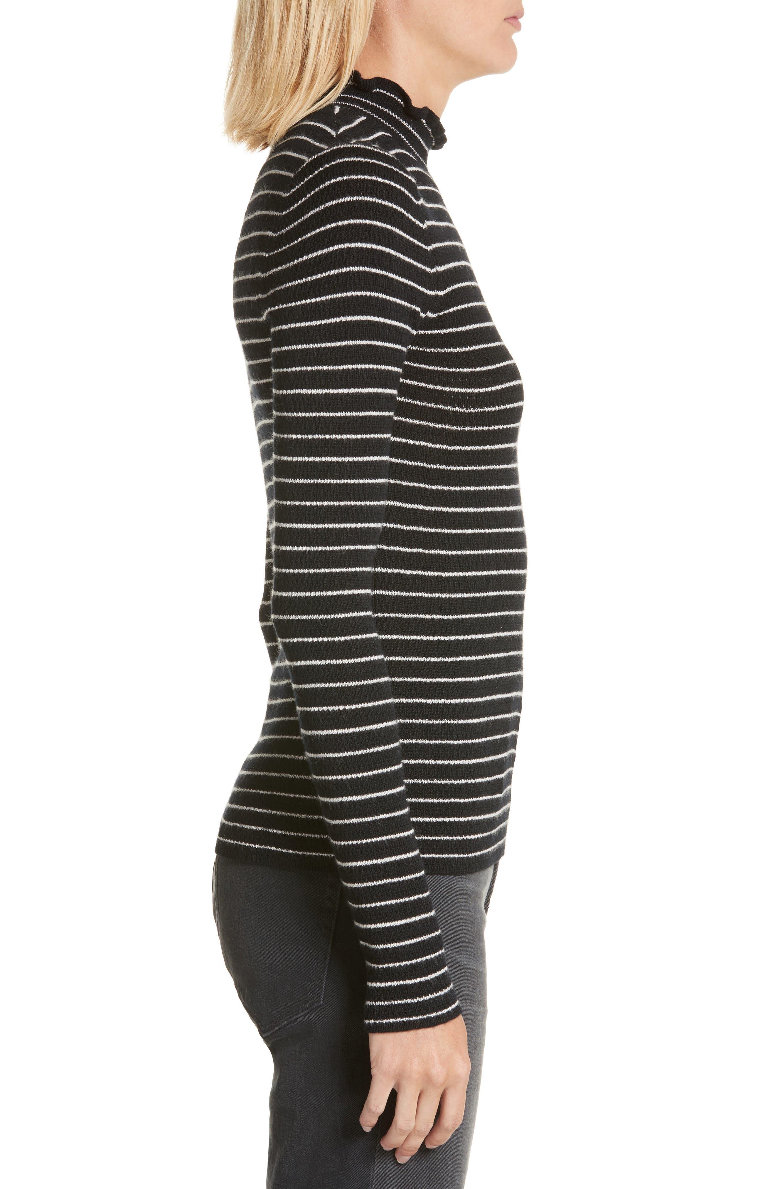 Merino Wool Pullover,                             Alternate thumbnail 3, color,                             Black Stripe