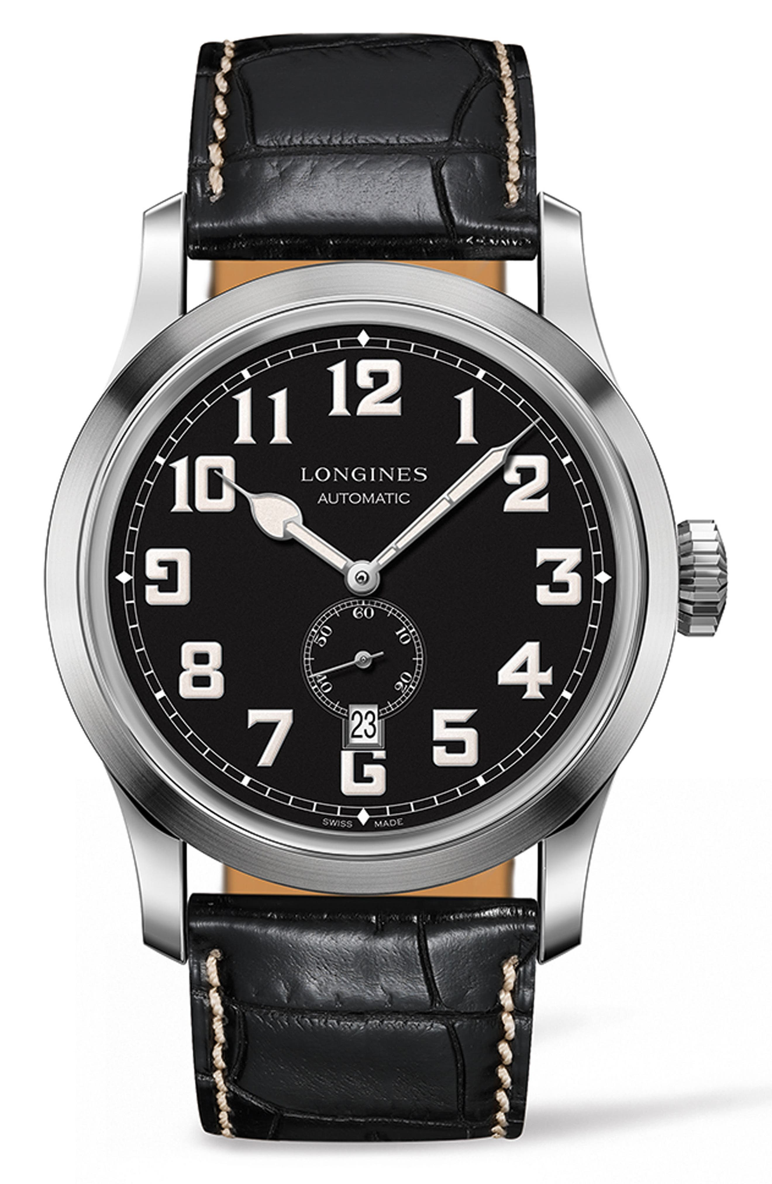 Heritage Automatic Military Leather Strap Watch, 44mm,                         Main,                         color, Black/ Silver