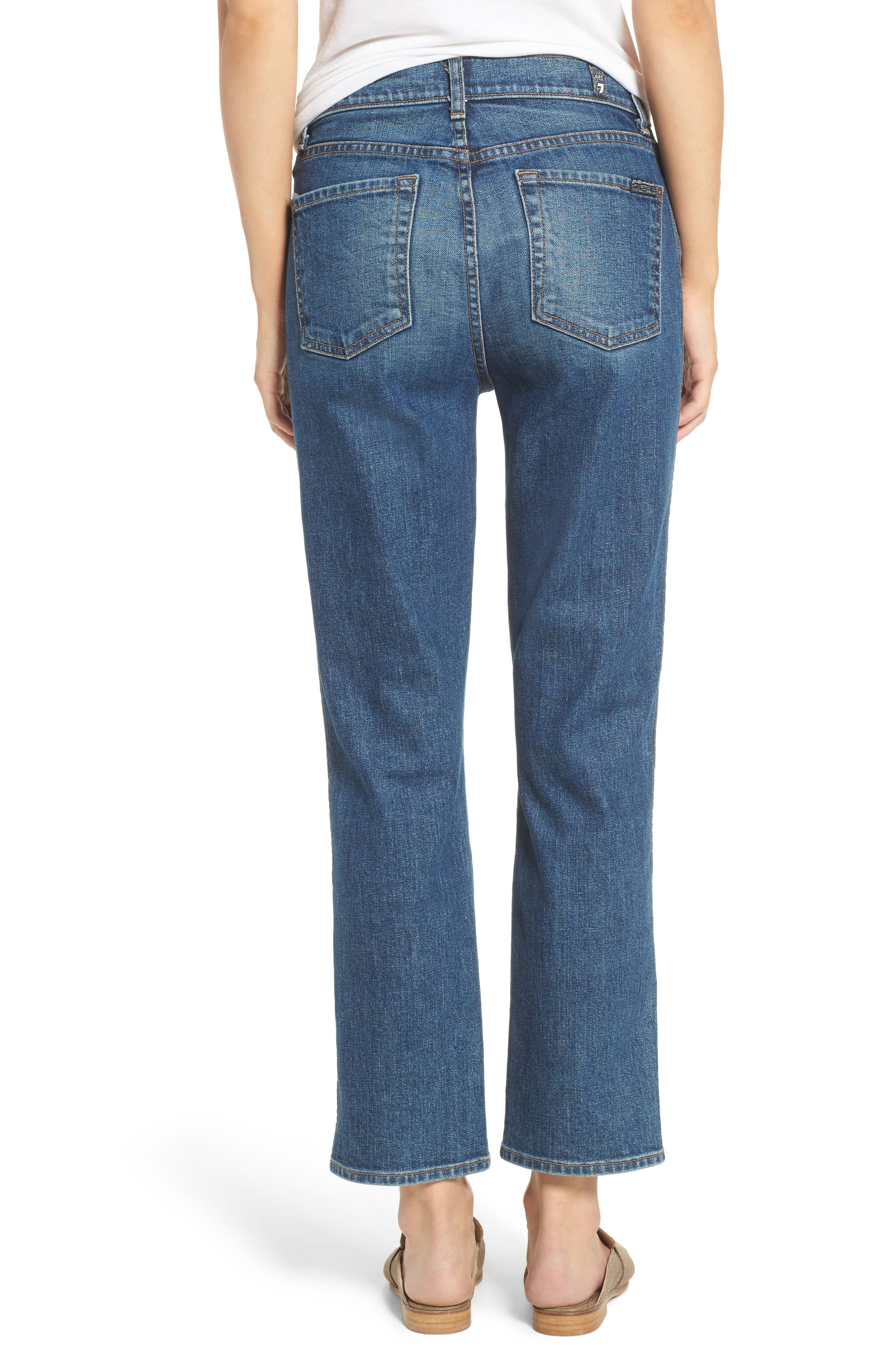Edie High Waist Crop Straight Leg Jeans,                             Alternate thumbnail 3, color,                             Montreal